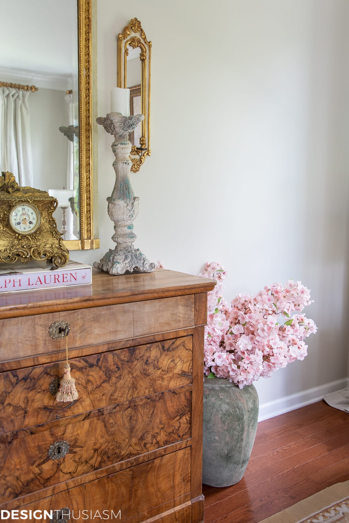 living room decor with cherry blossoms in a vase