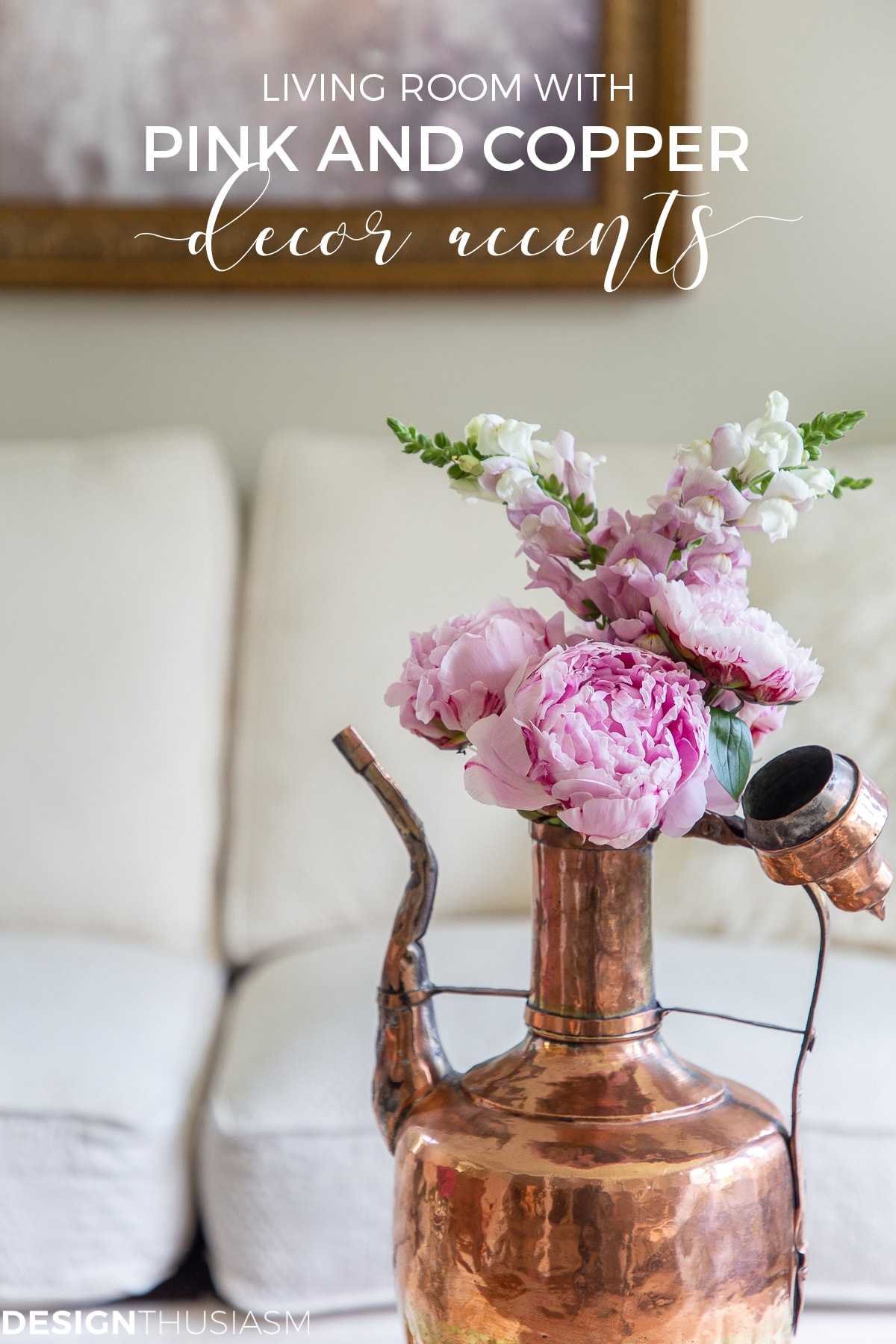 living room decor with pink peonies in copper accents