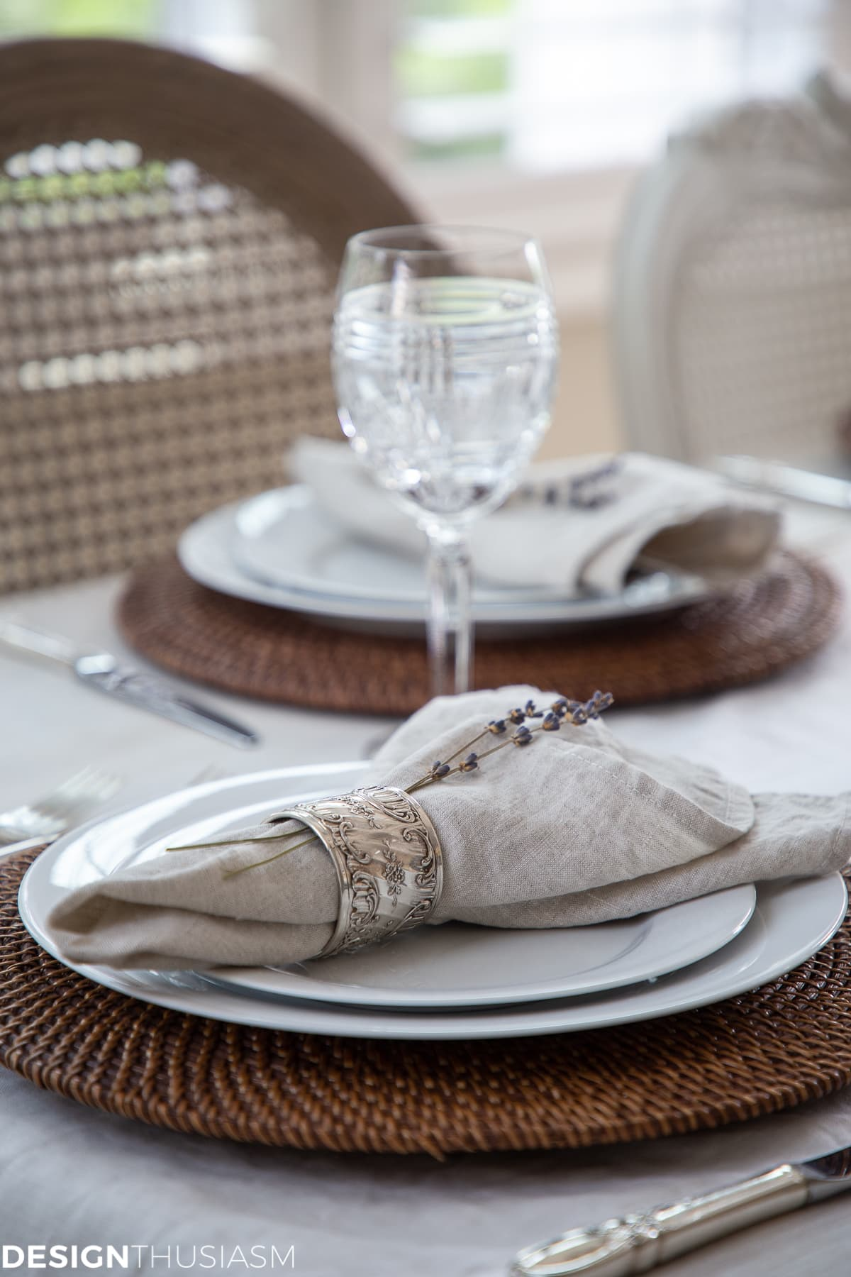 chair covers and linen napkins in a summer tablescape