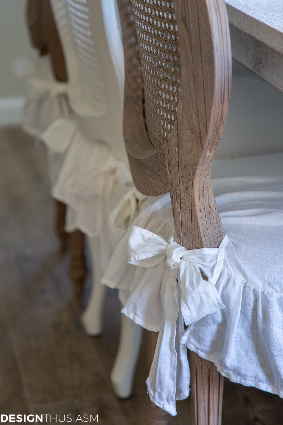 white linen ruffled chair covers