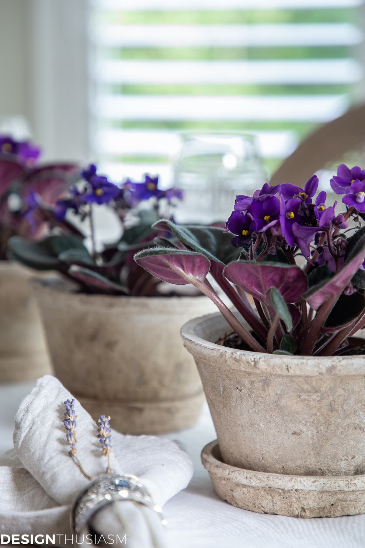 summer tablescape with african violets in clay pots