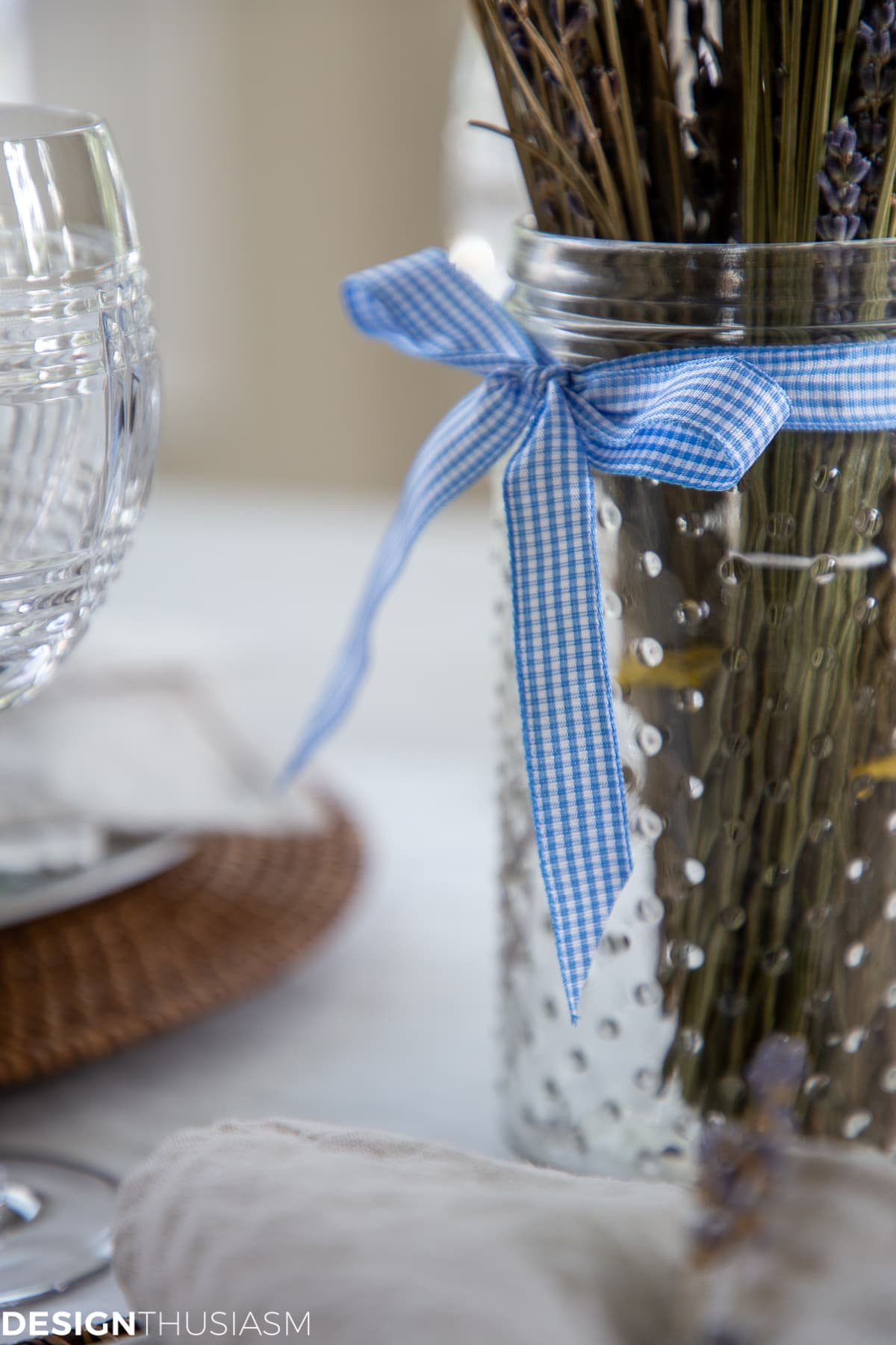 gingham check bow on mason jar