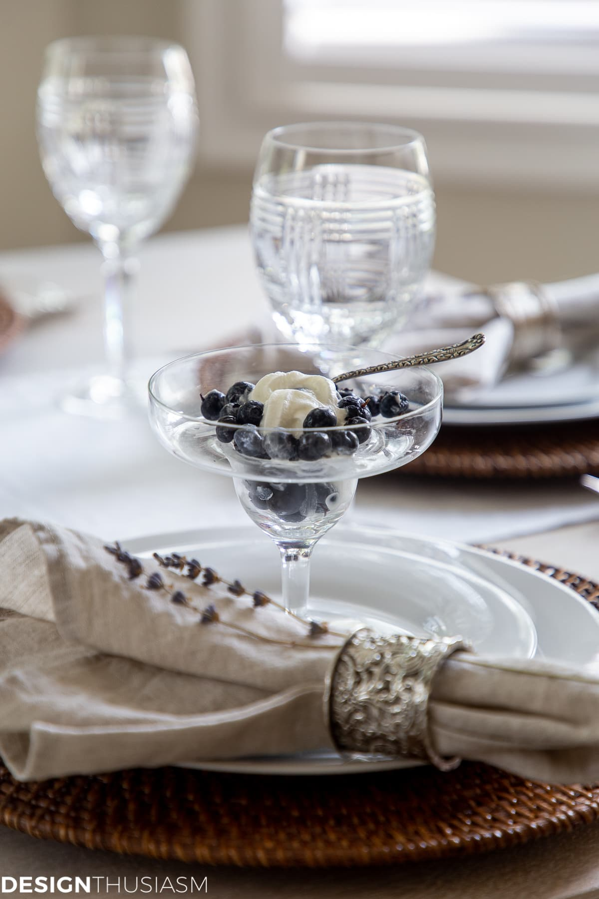 blueberries and cream in a summer tablescape