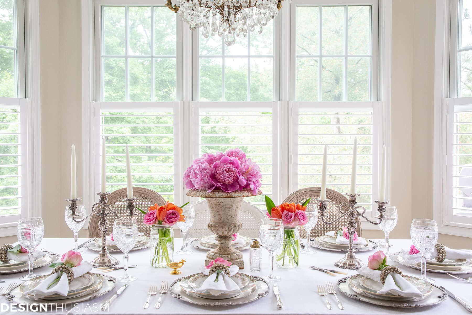 white dining table setting in the kitchen