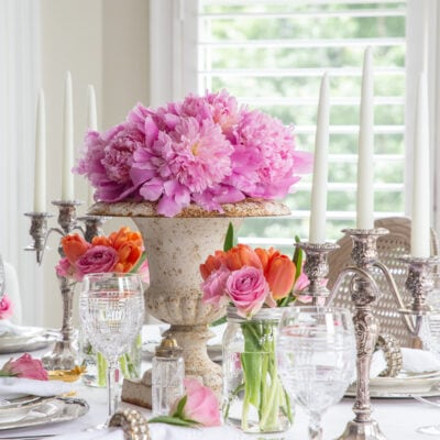 Adding Summer Color to a White Dining Table Setting