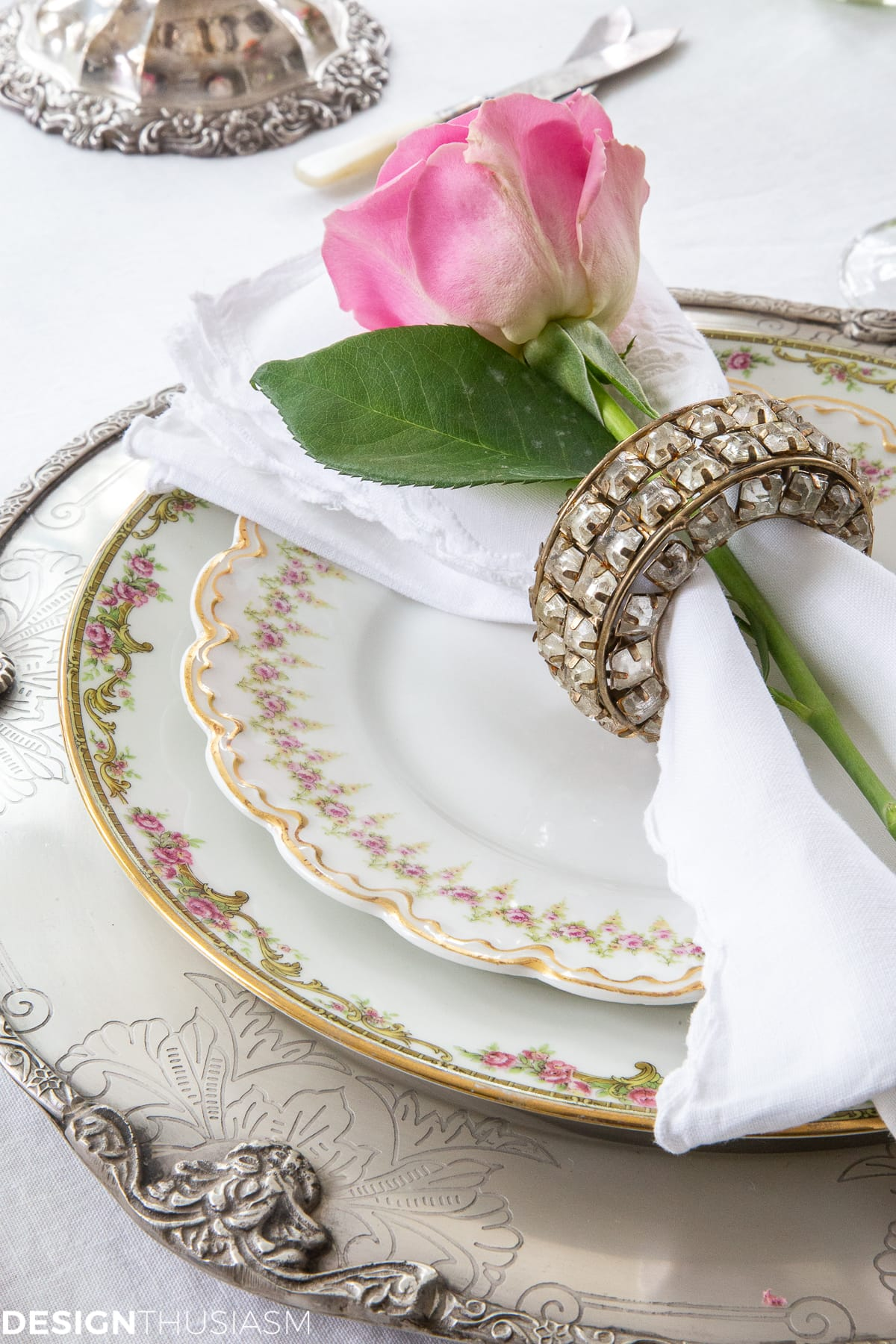 mixed china in a white dining table setting