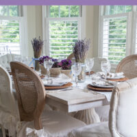 summer table with natural linens