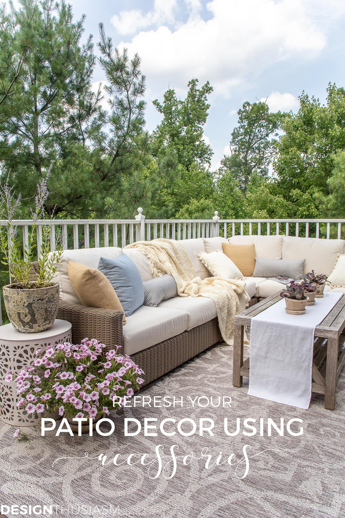 patio ideas with outdoor pillows and rug