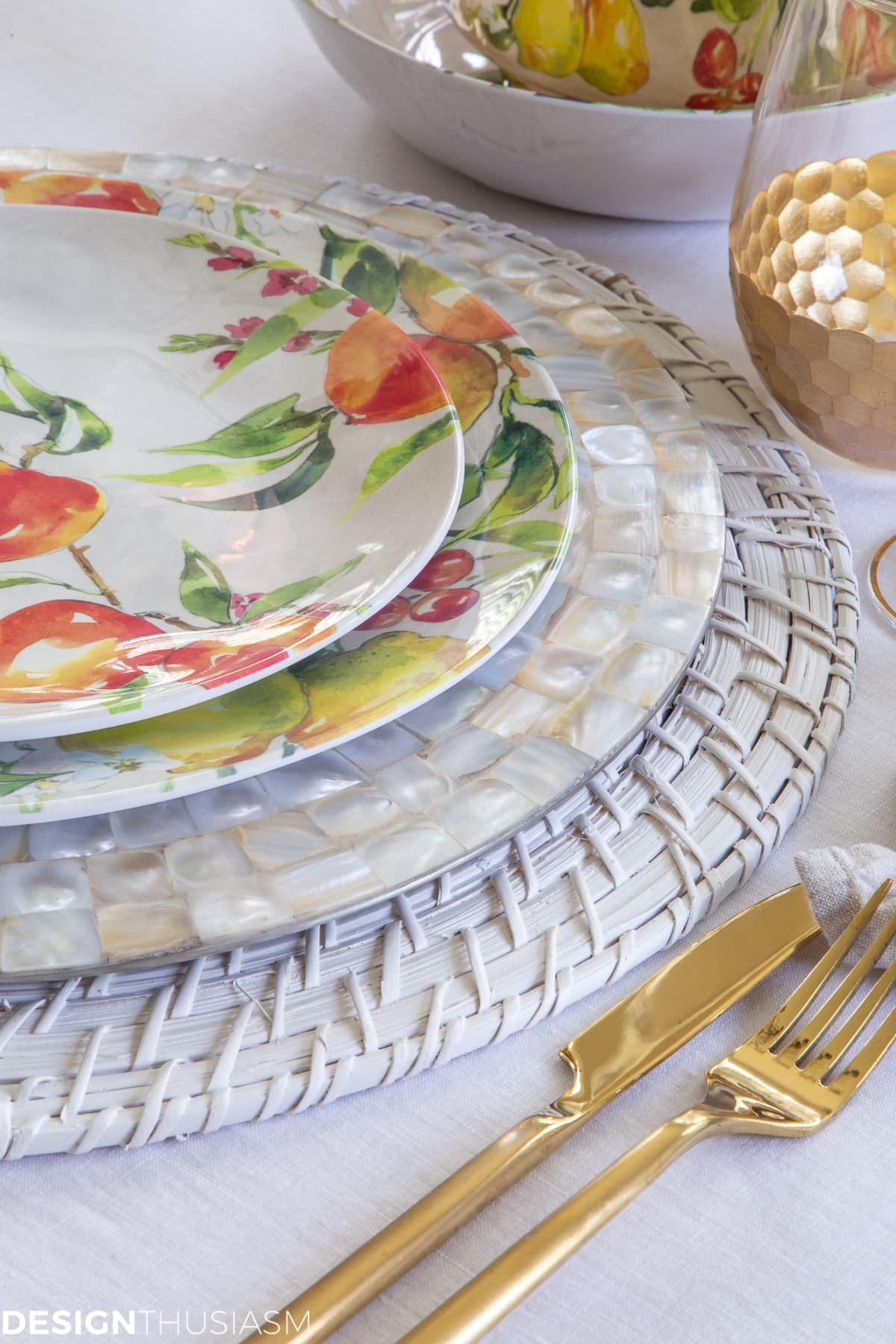 colorful plates in an informal table setting