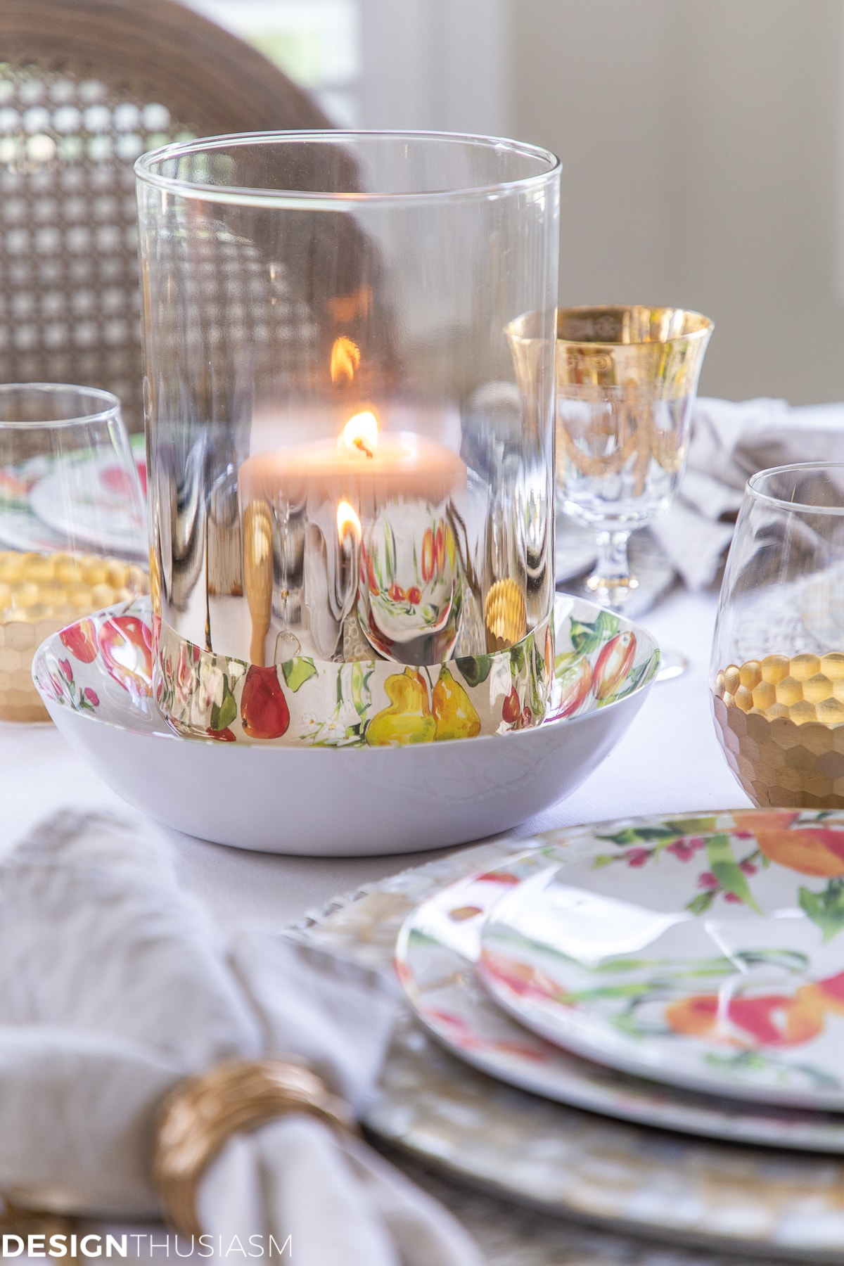gold hurricanes in an informal table setting
