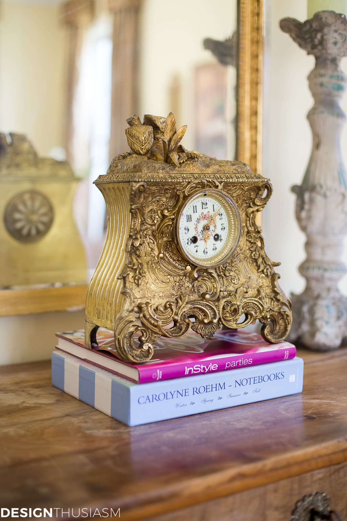 french country house with gilt clock