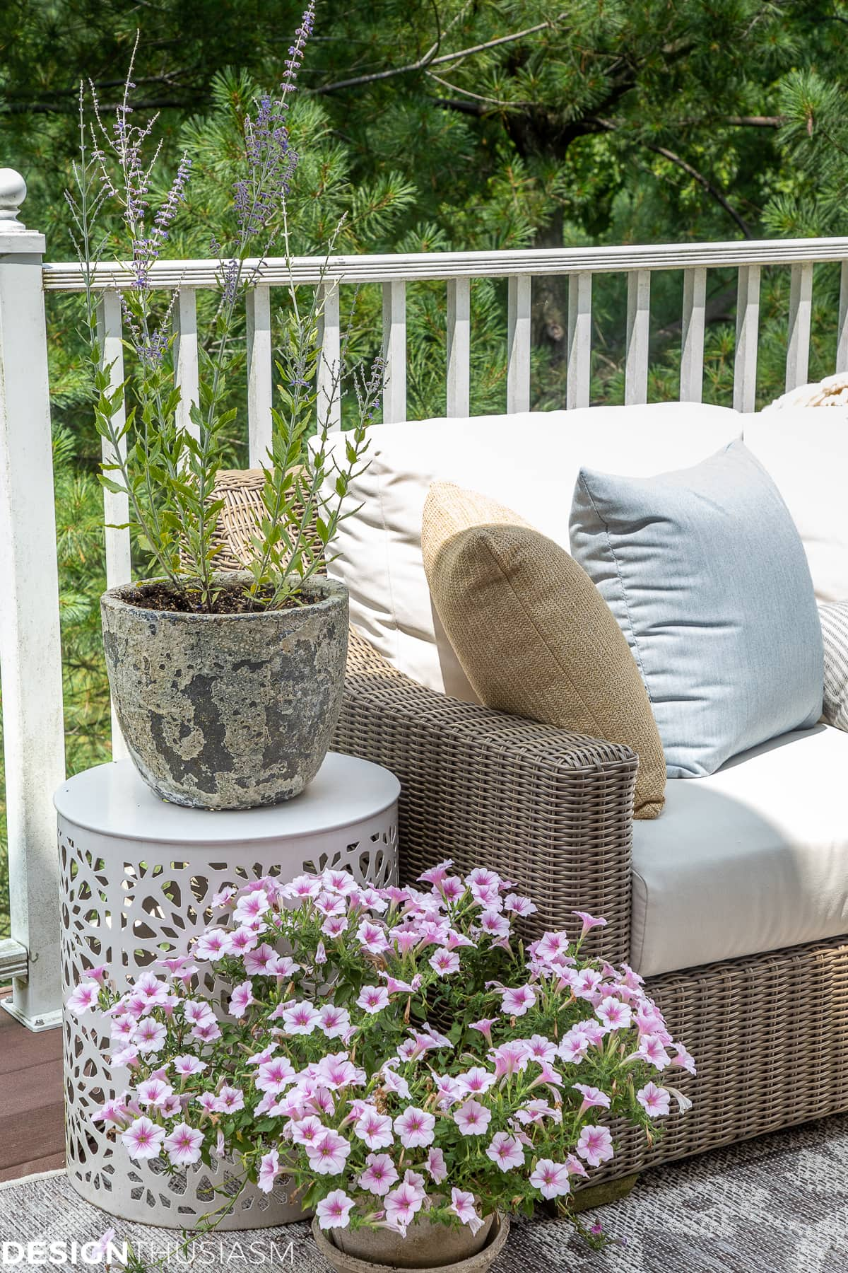 patio accessories and distressed planter