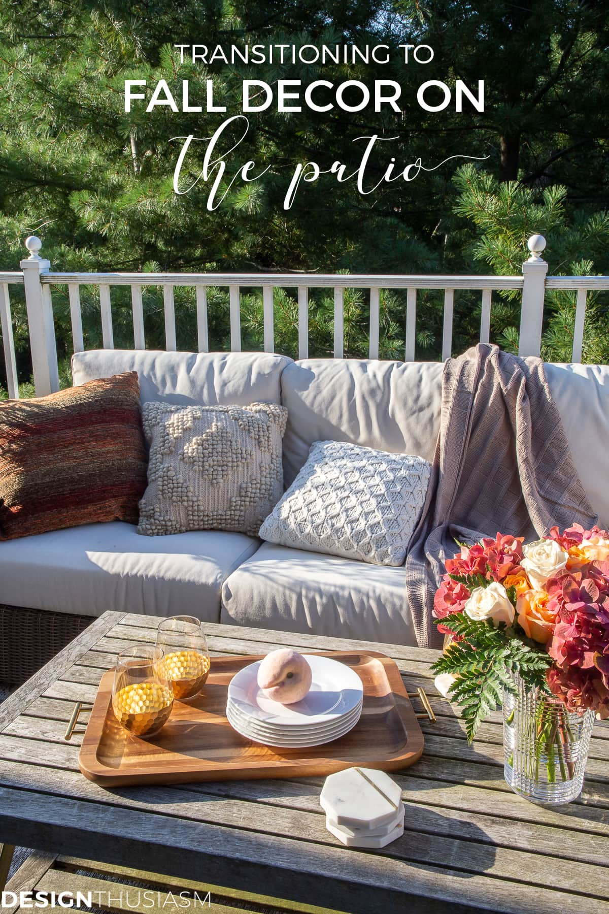 outdoor sofa and fall decorating ideas for outside