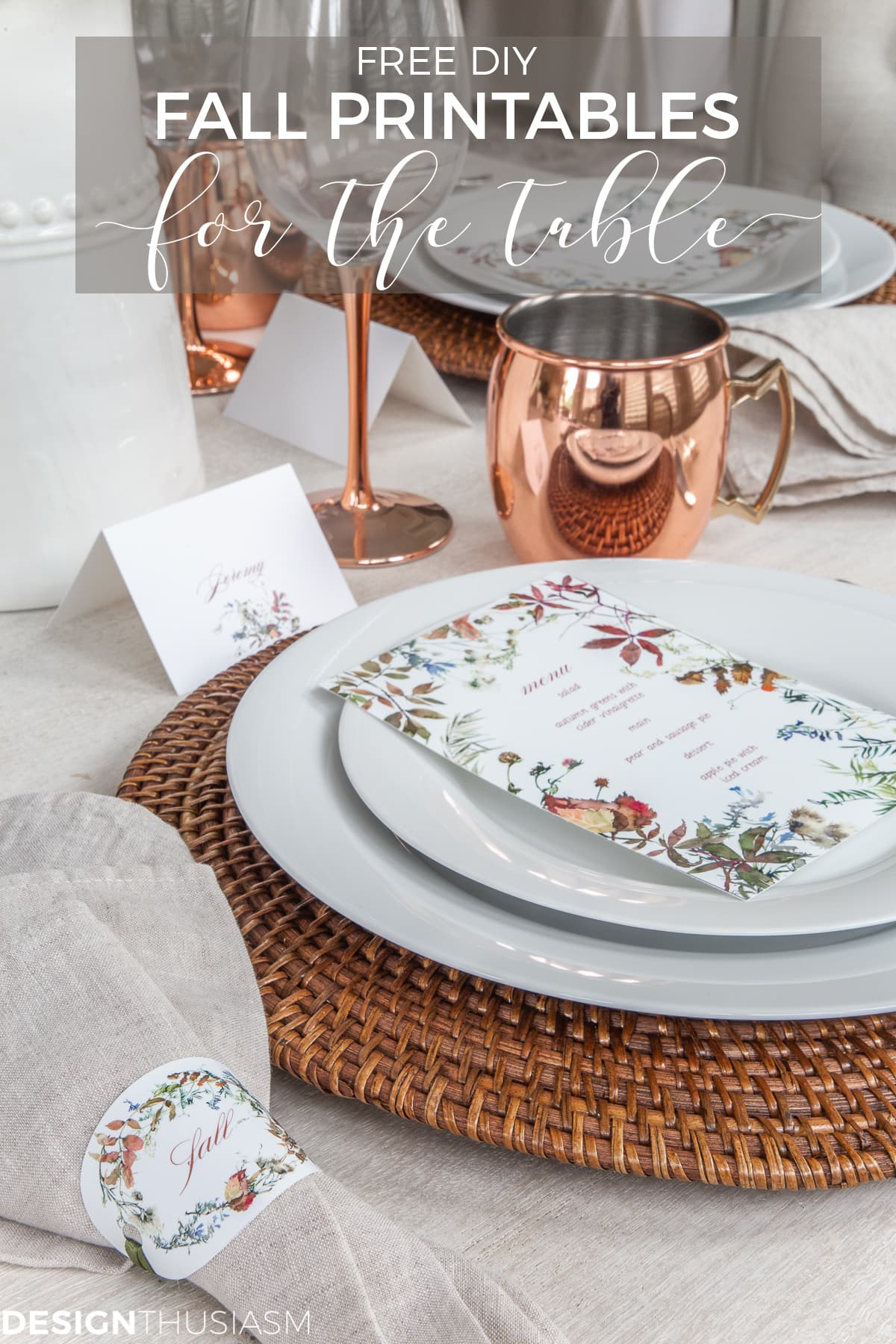 fall printable menus in a tablescape