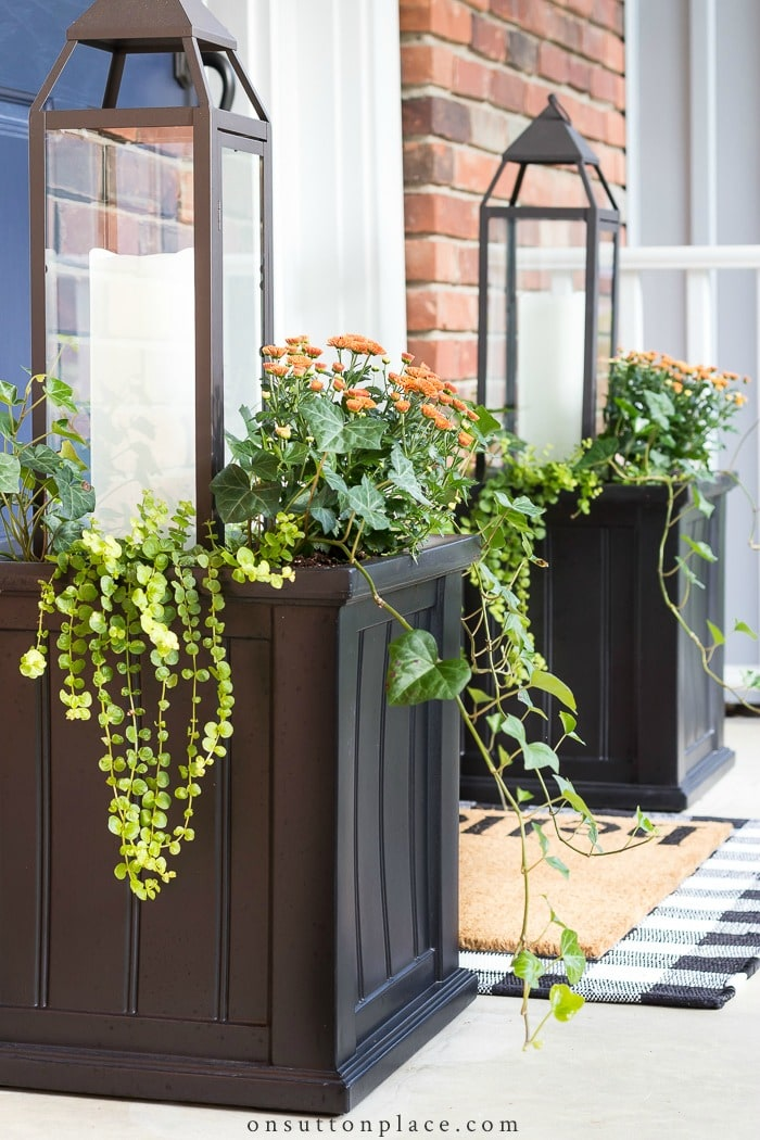 Fall Lantern Planter Idea from On Sutton Place