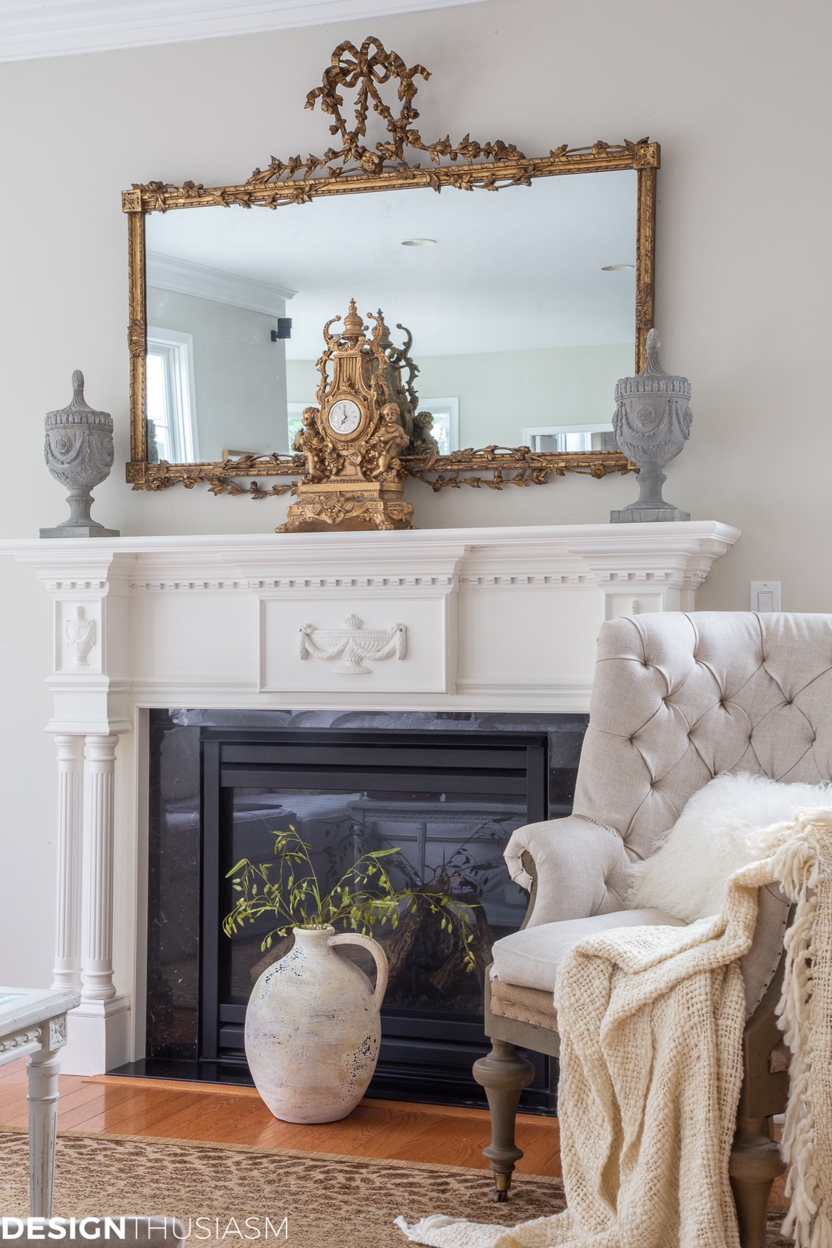 fireplace in a in a french country home