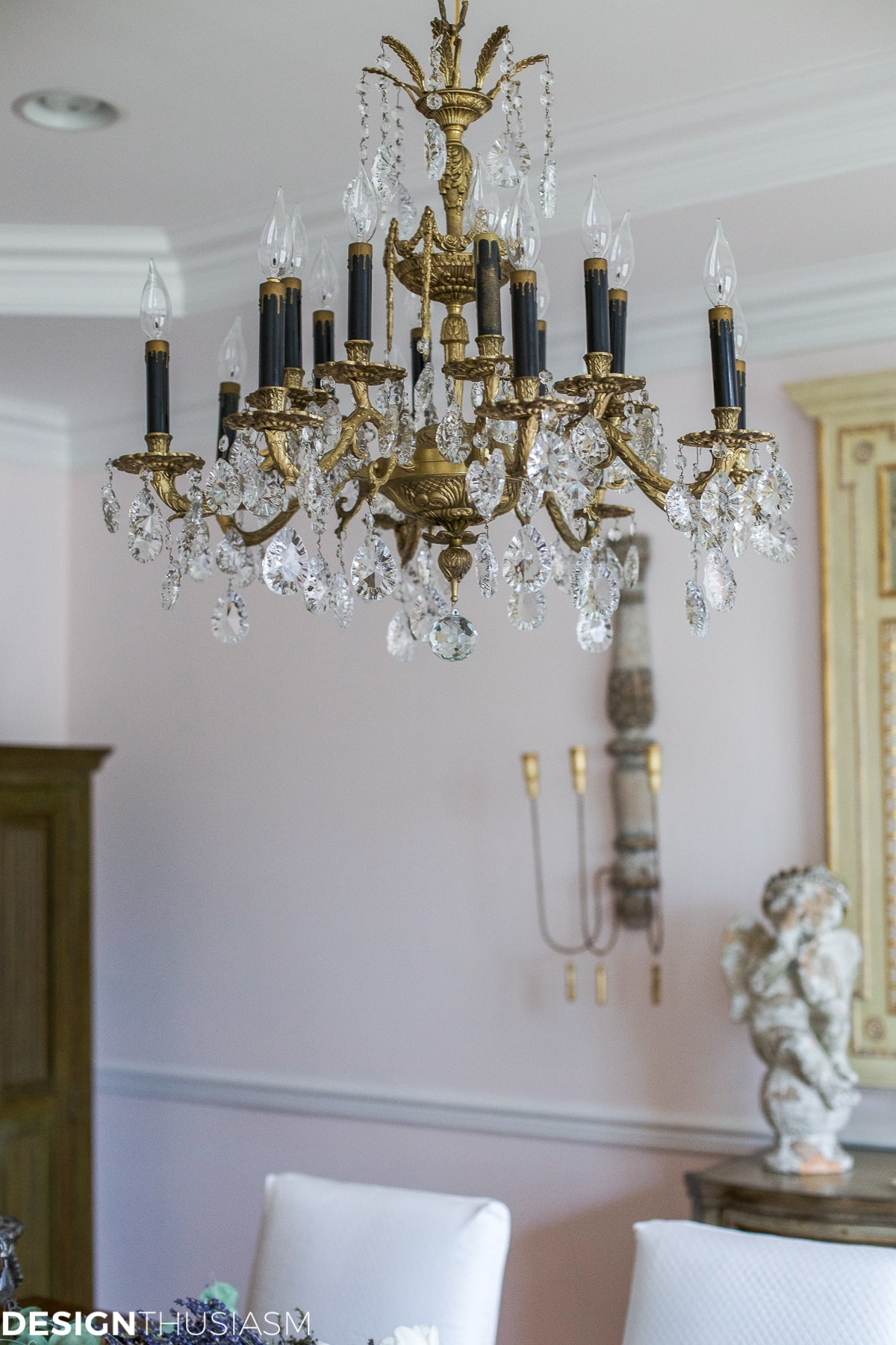 antique chandelier in a french country home