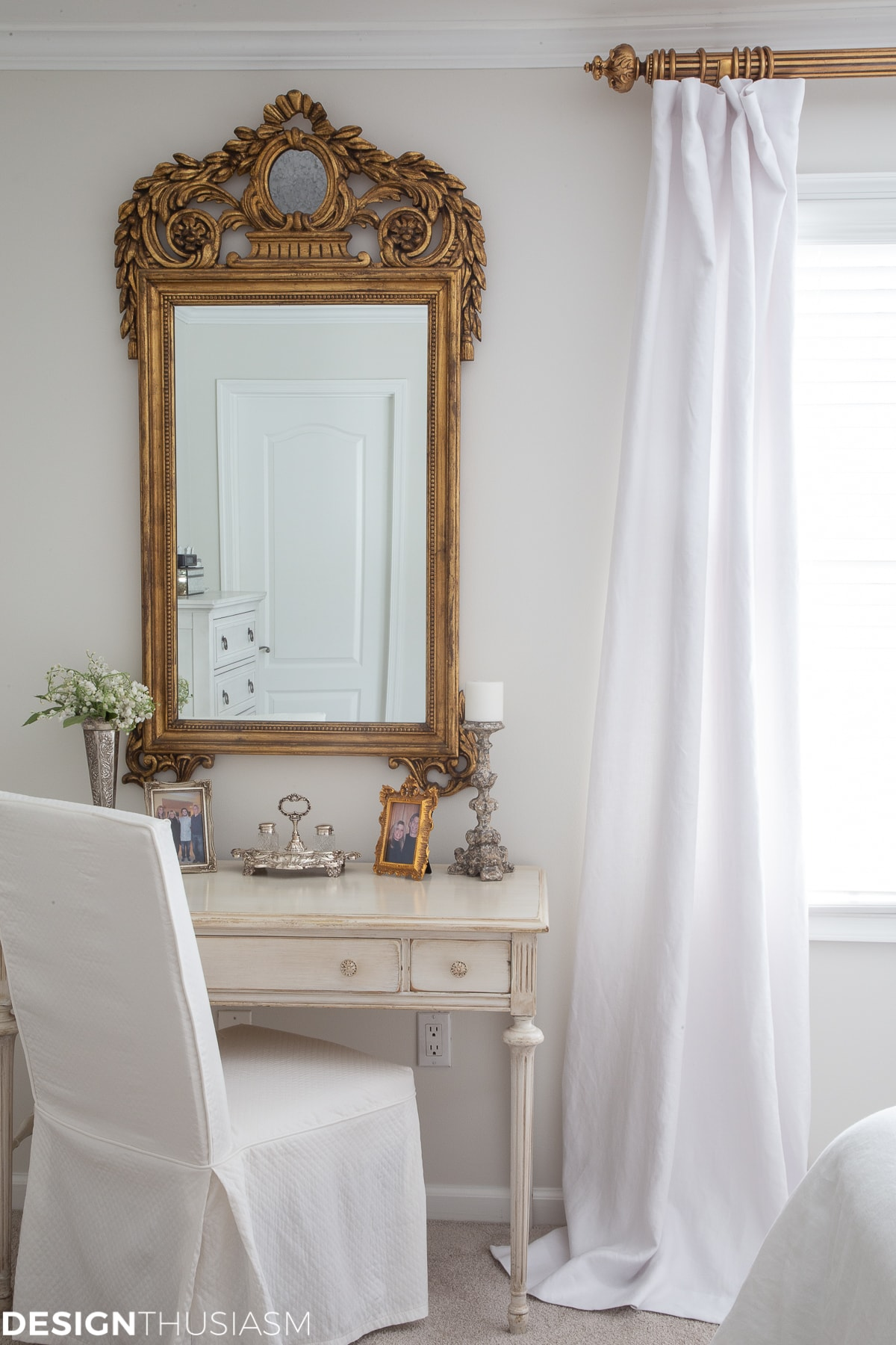 white bedroom in a french country home
