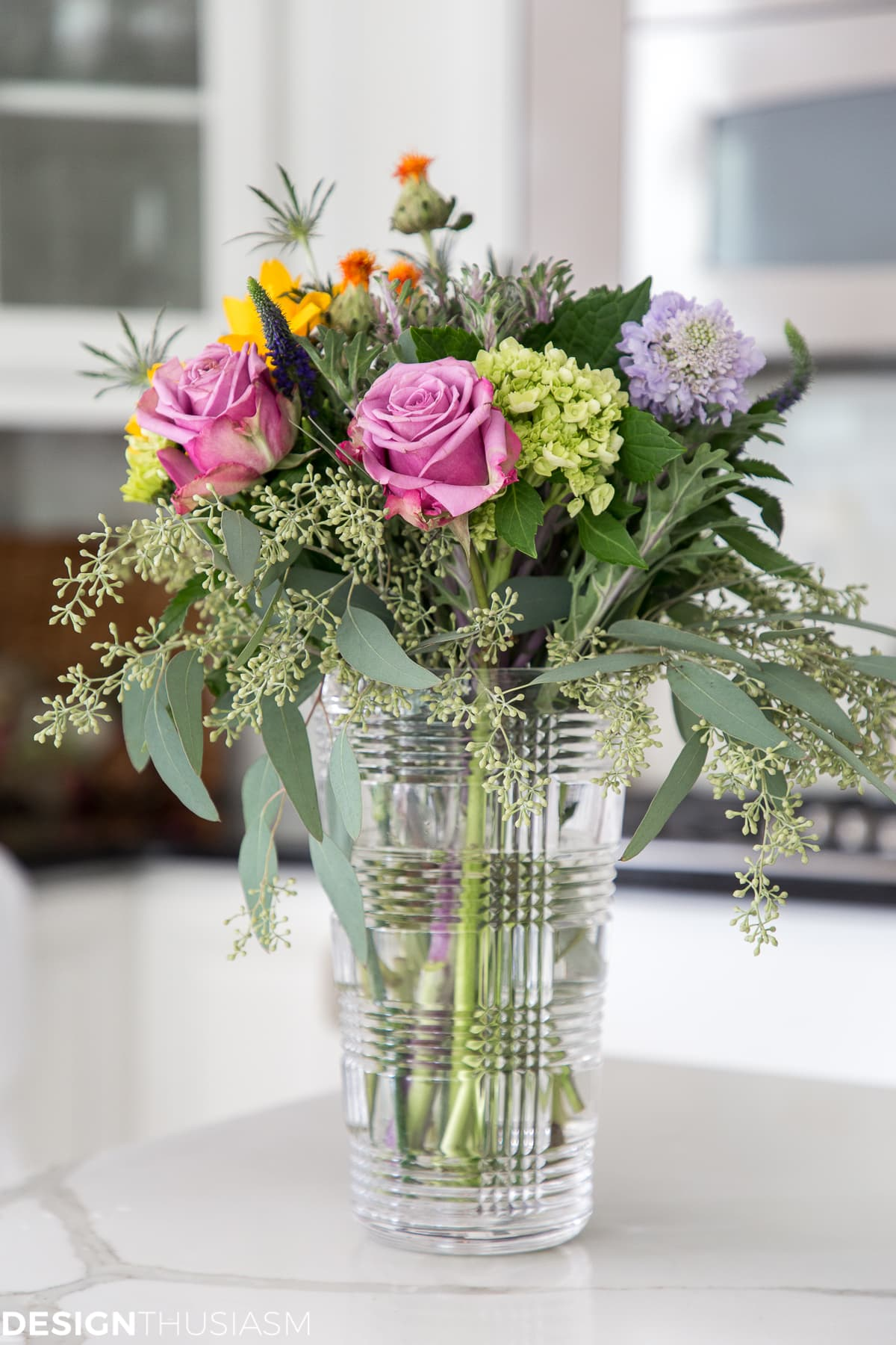 floral arrangement in a modern townhouse