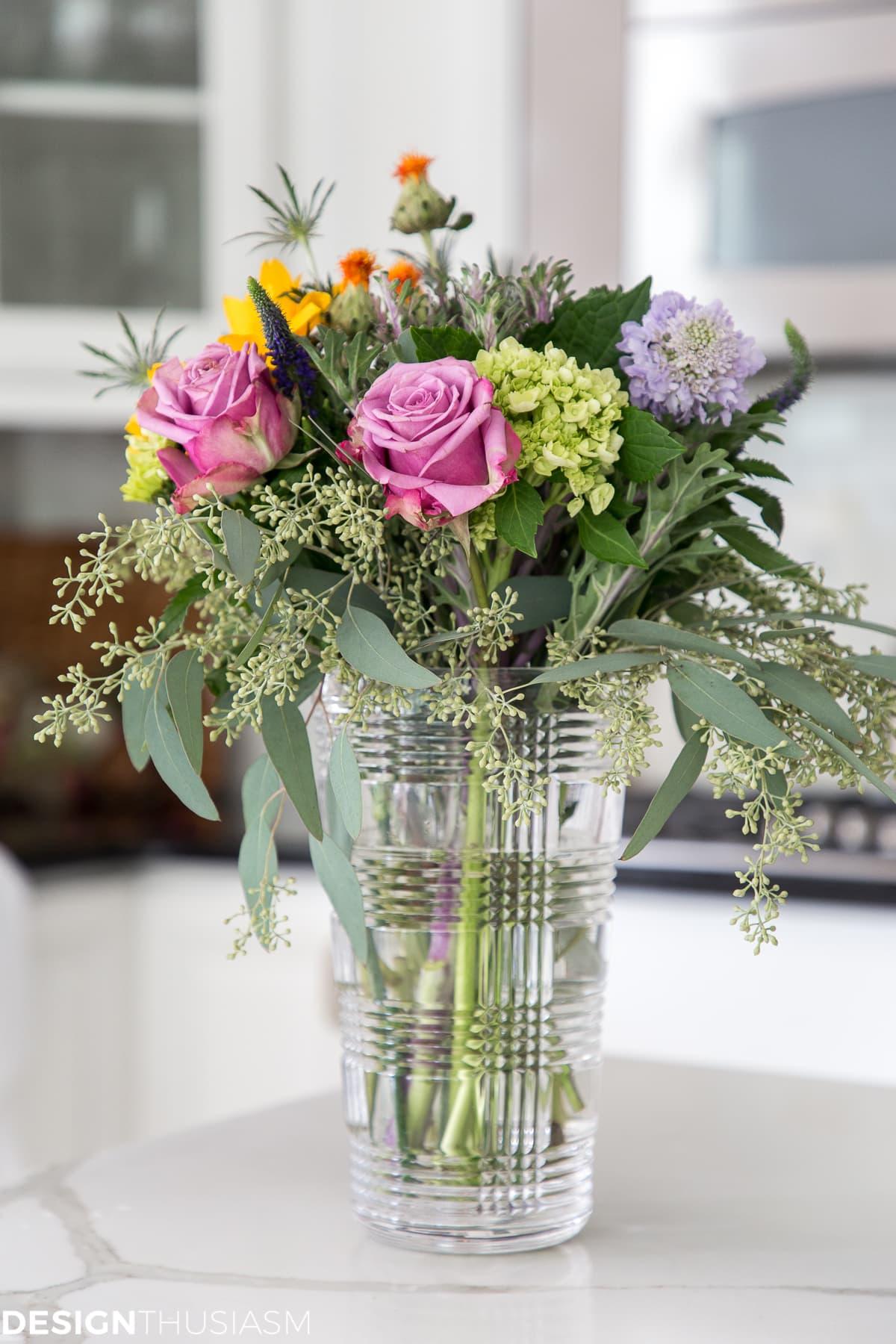 floral arrangement in a modern townhouse