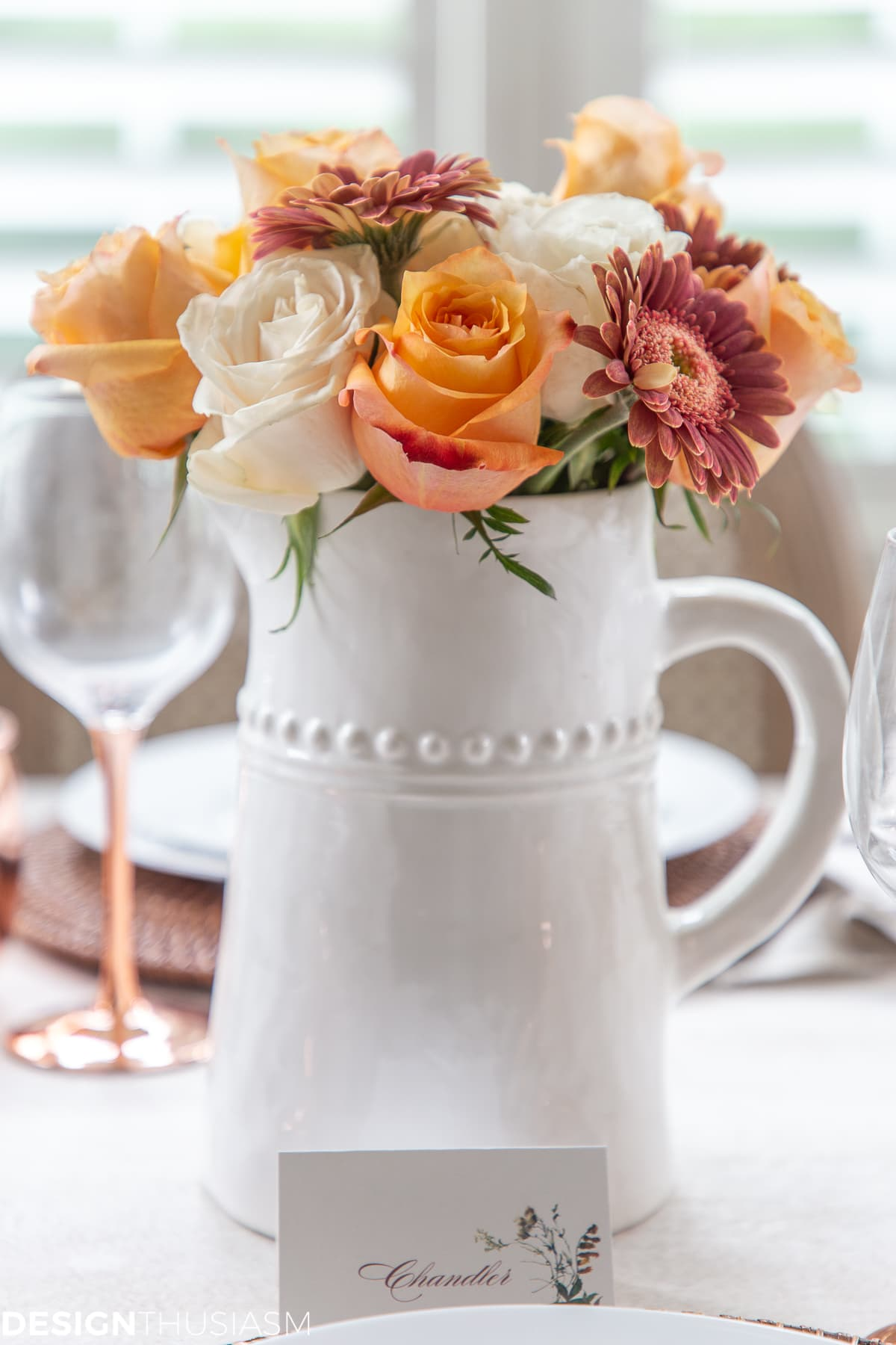fall floral in a tablescape