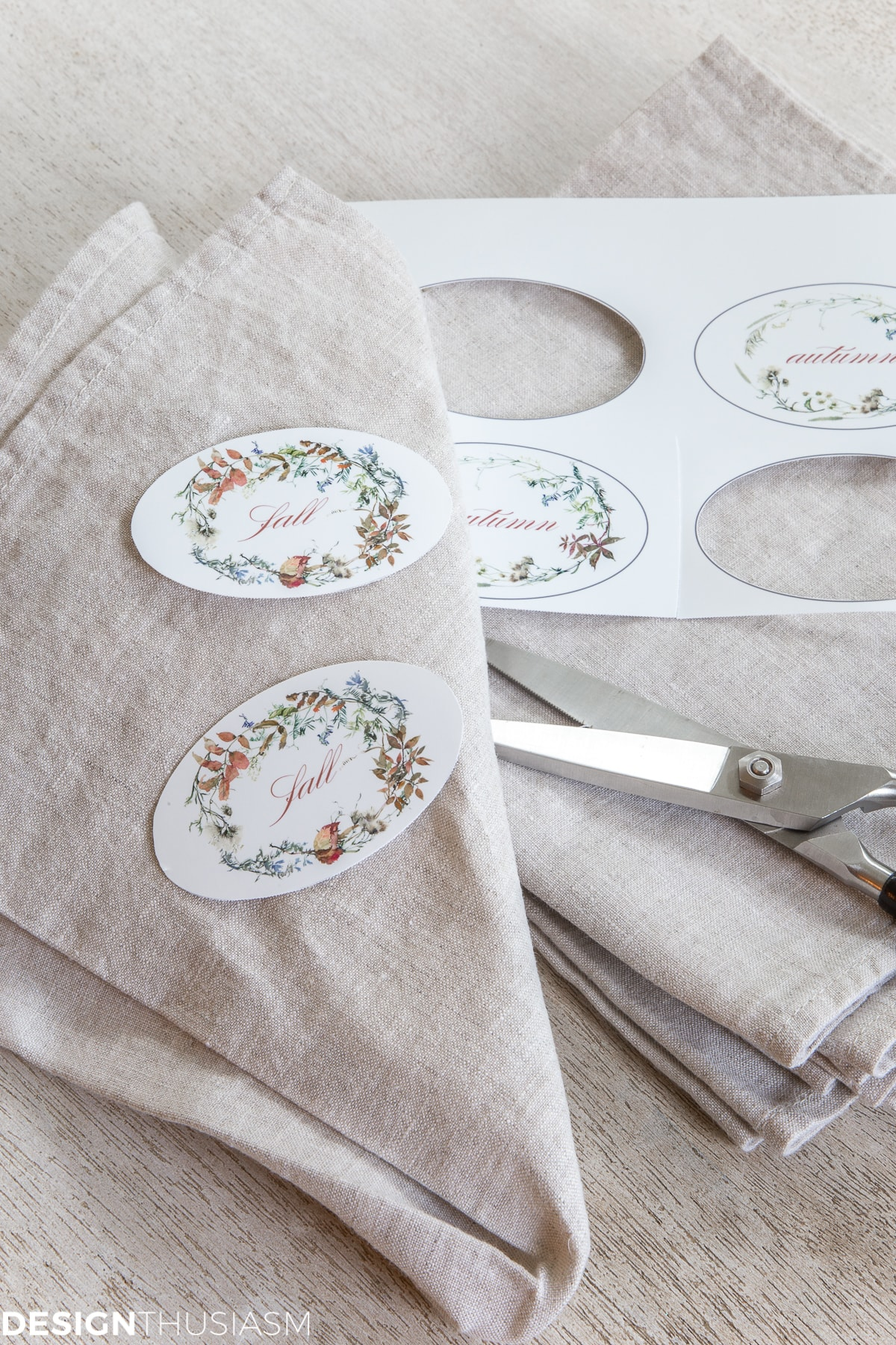DIY fall printable napkin rings