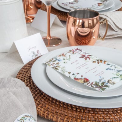 Free Fall Printables for the Table: Menus, Place Cards and Napkin Rings