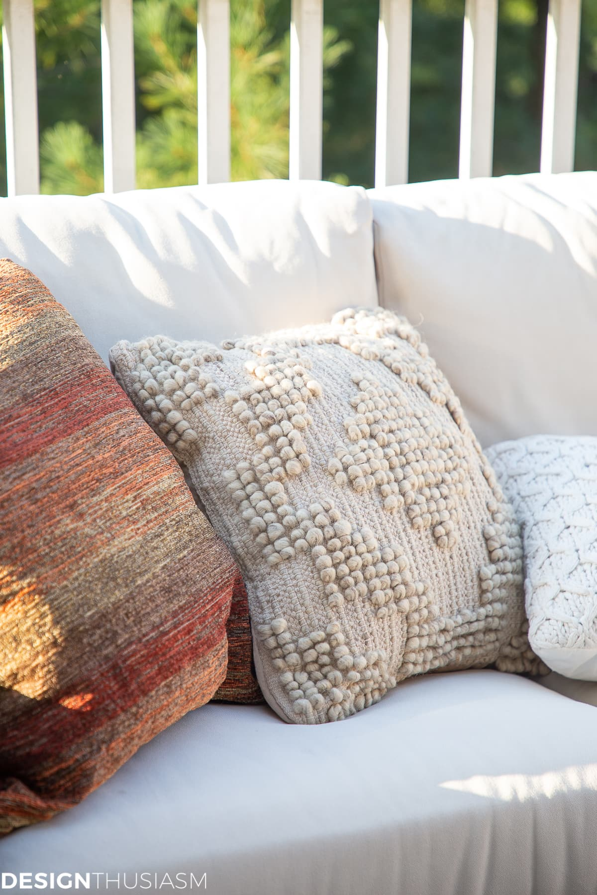 fall pillows on the outdoor sectional