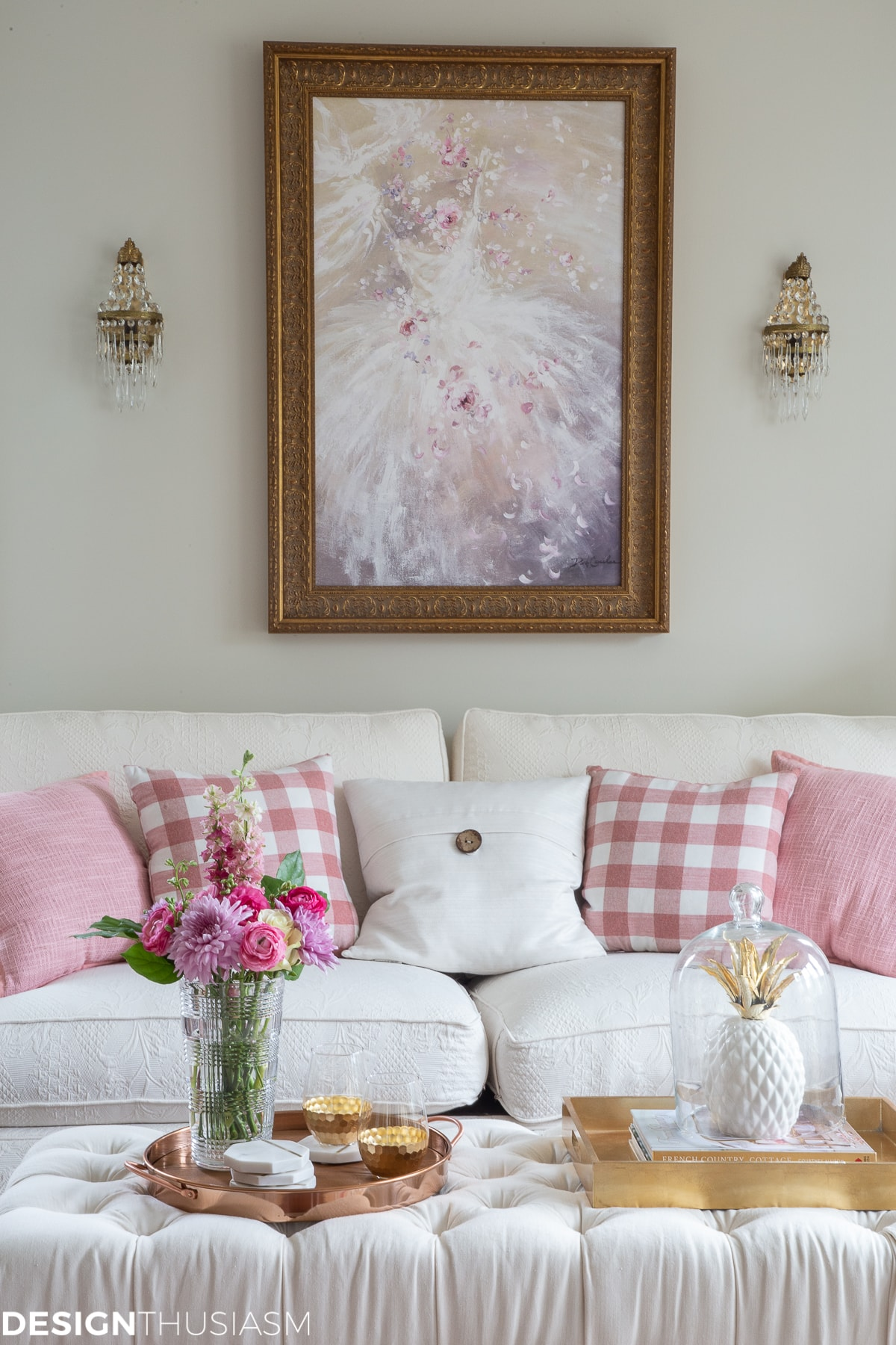 glam decor home style pink room decor living room