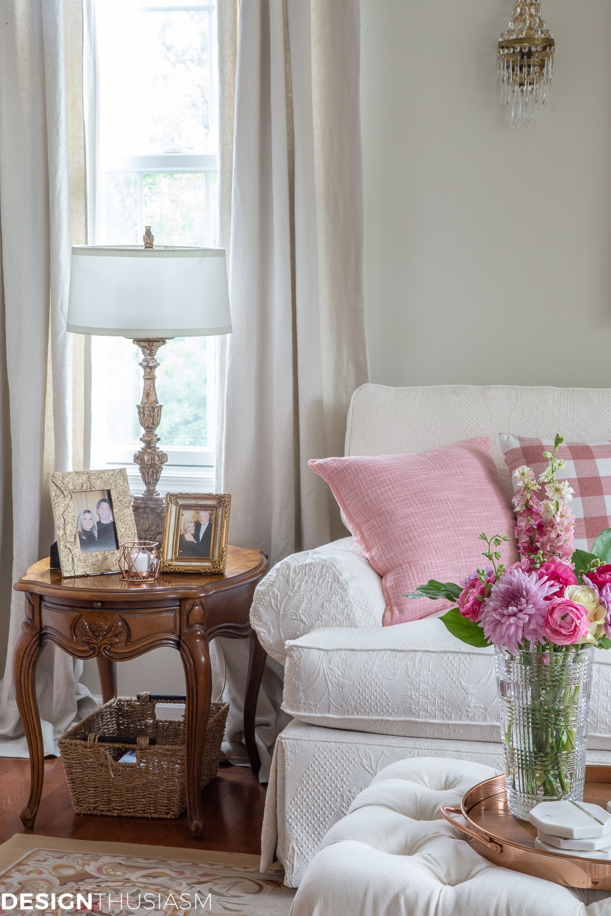 pink pillows in glam decor living room home style