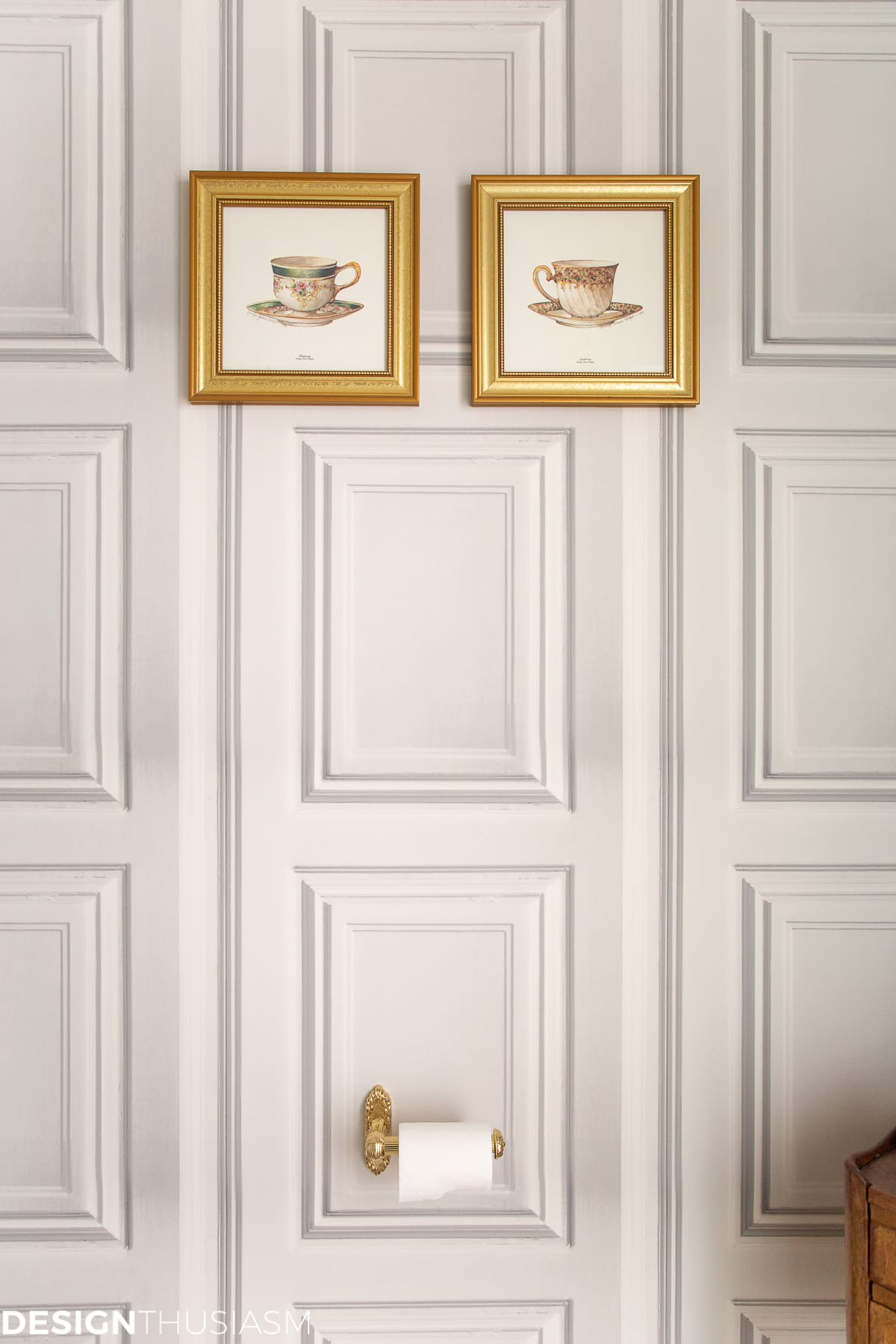 powder room wallpaper and teacup prints