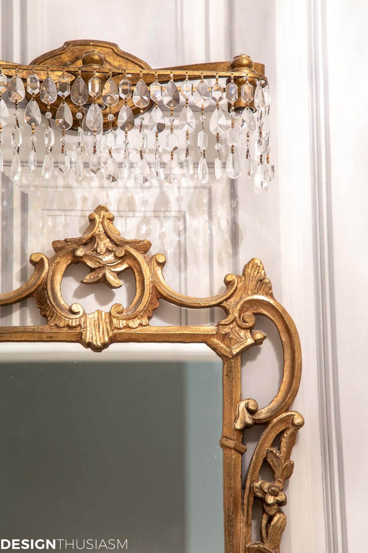 powder room mirror and light fixture