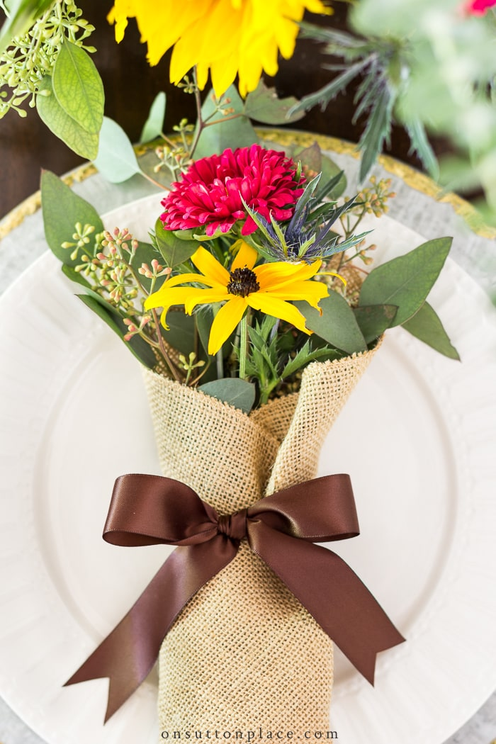 Autumn Table Setting with Burlap Bouquets