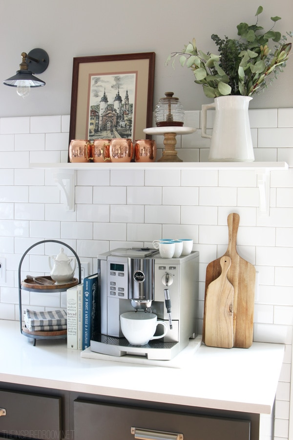 Coffee Station with Open Shelf - The Inspired Room