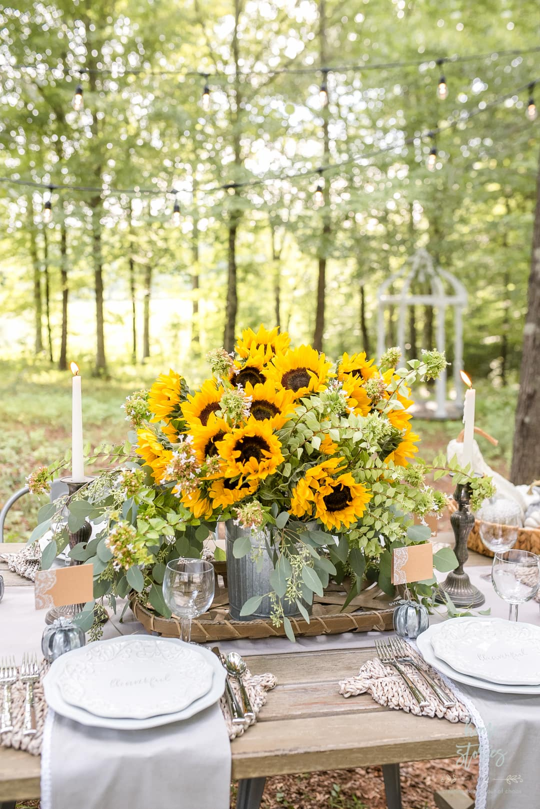 Sunflowers and Hydrangeas outdoor table setting from Home Stories A to Z