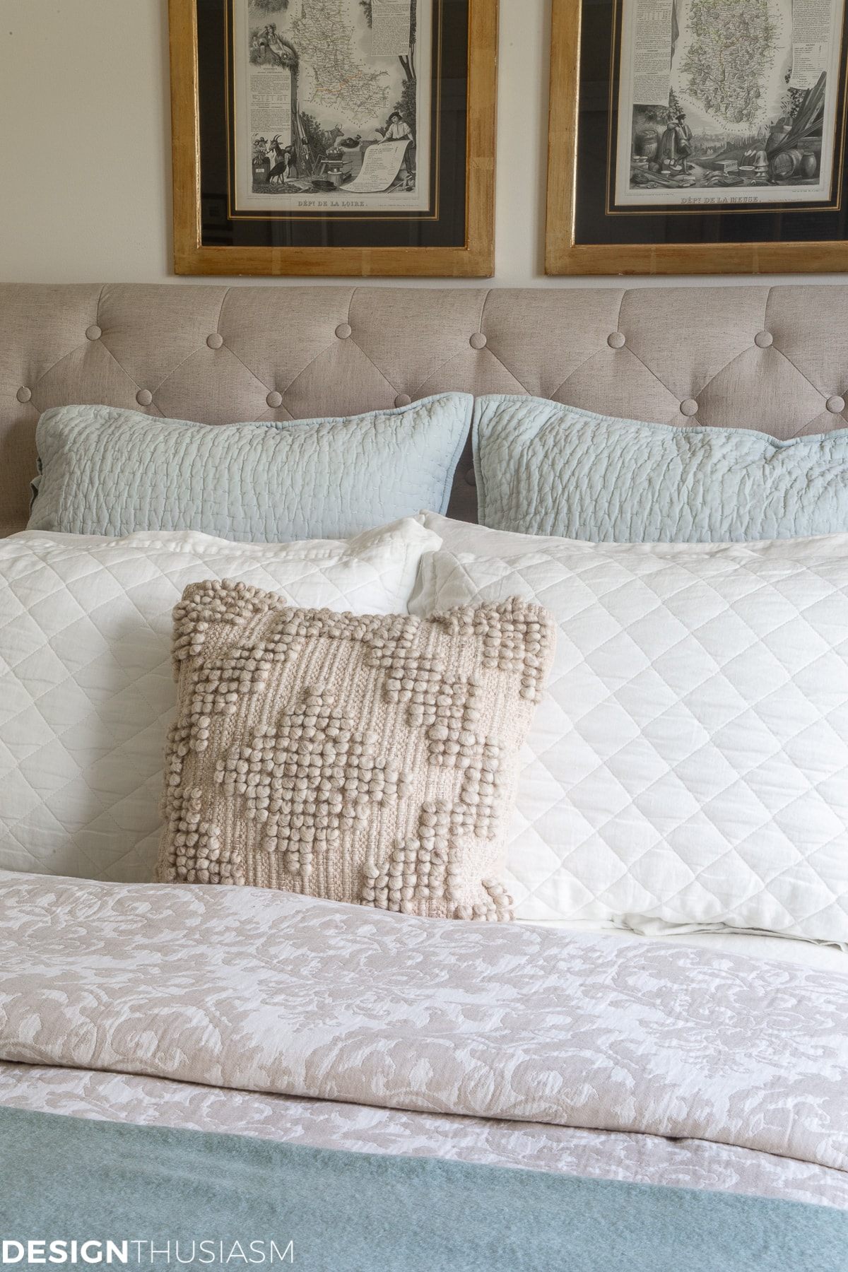 fall guest bedroom pillows and shams