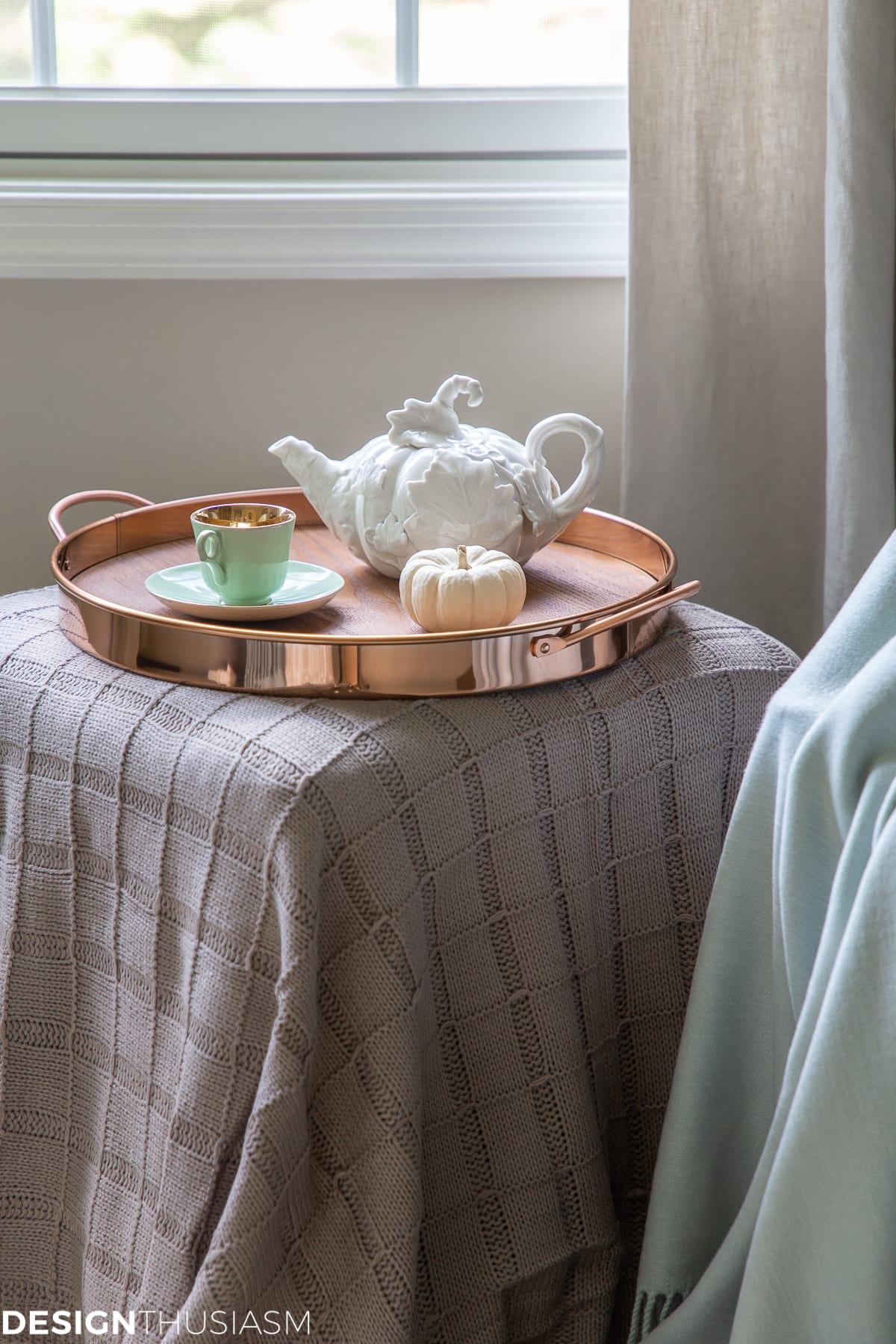 fall guest bedroom tea service