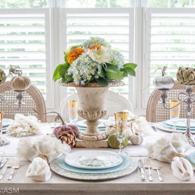 autumn tablescape with soft fall colors