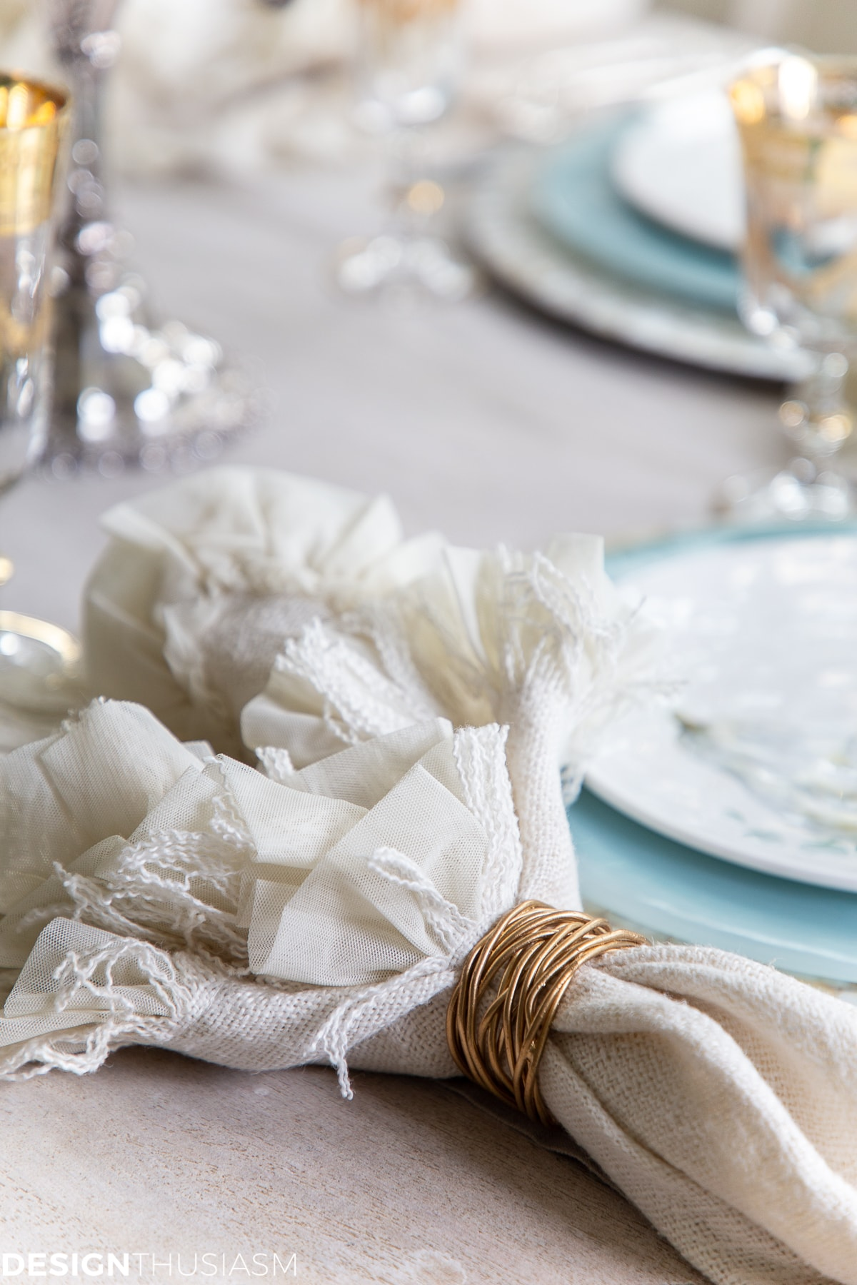 ruffled napkin in a soft fall table setting