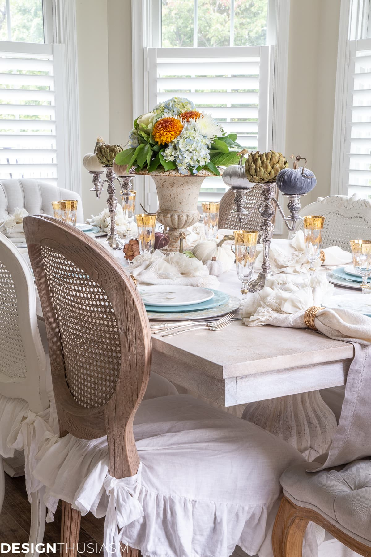 soft colors in a fall tablescape