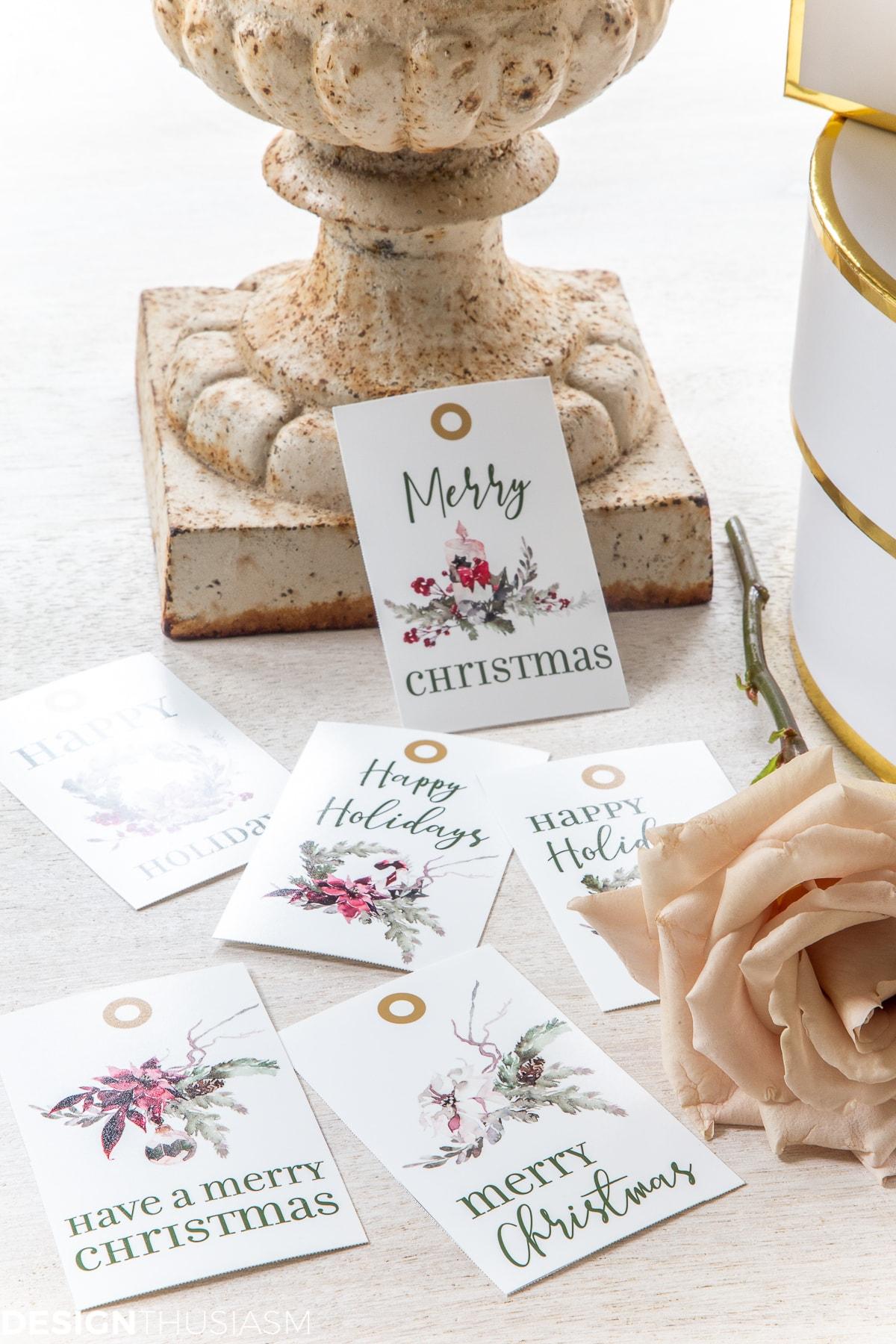 Christmas gift tag printables set of 6