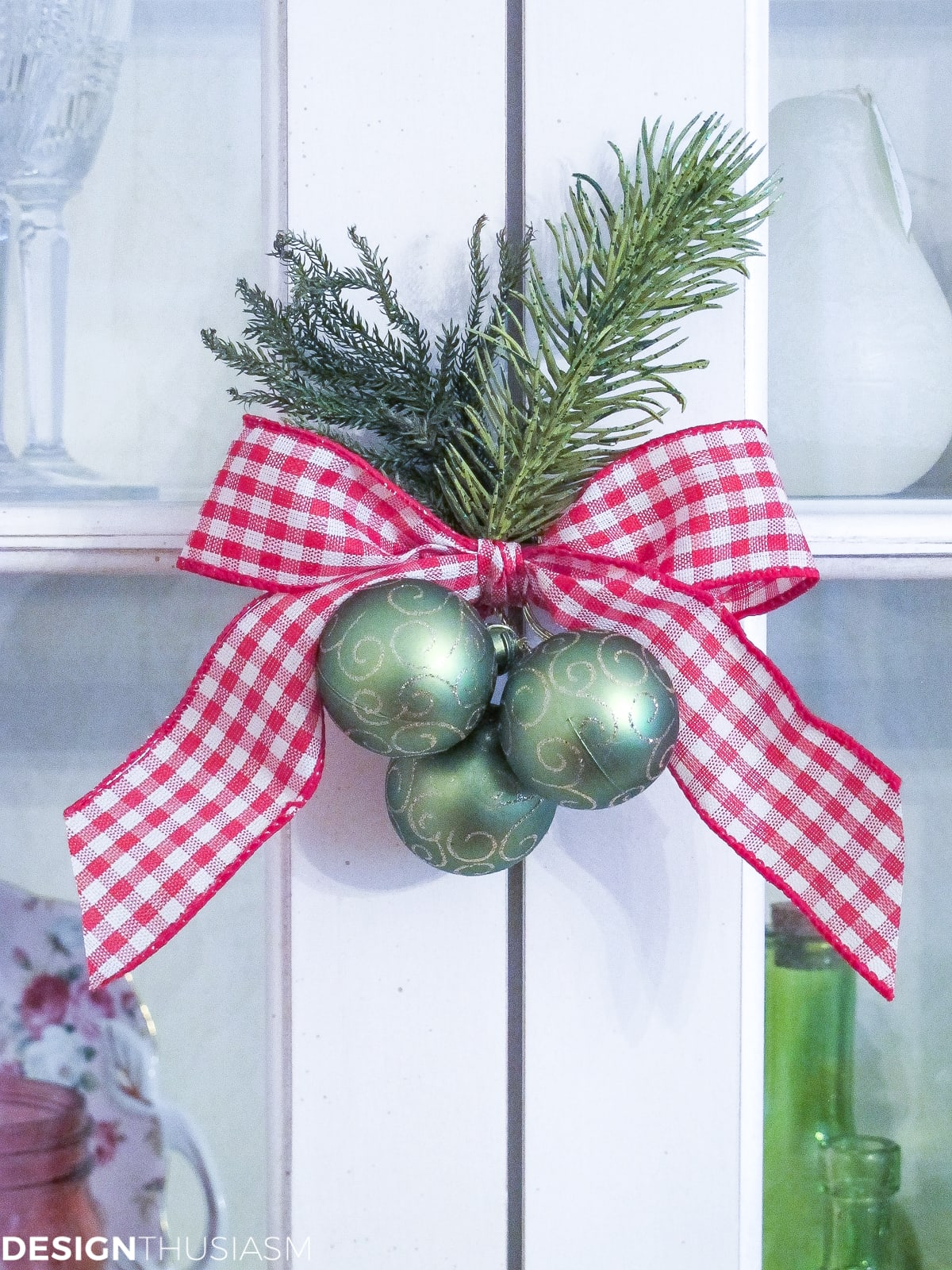 simple Christmas decor gingham ribbon