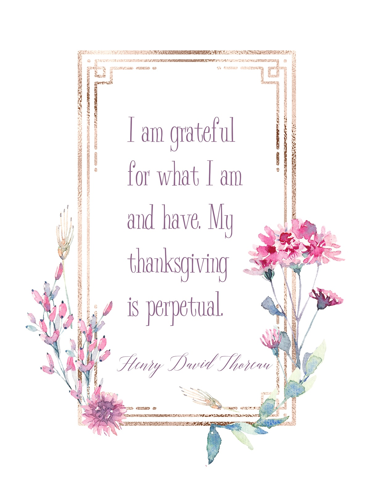I am grateful printable wall art