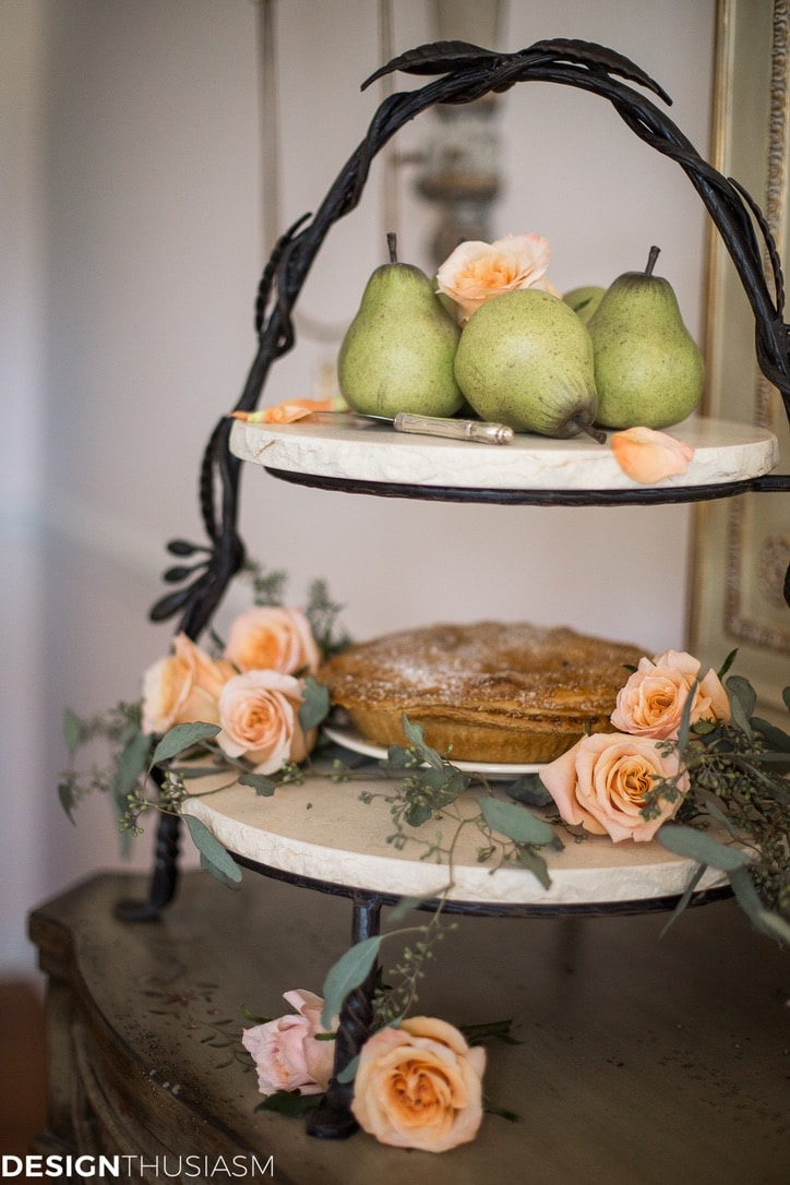 Thanksgiving decor with 2 tier cake stand for pies