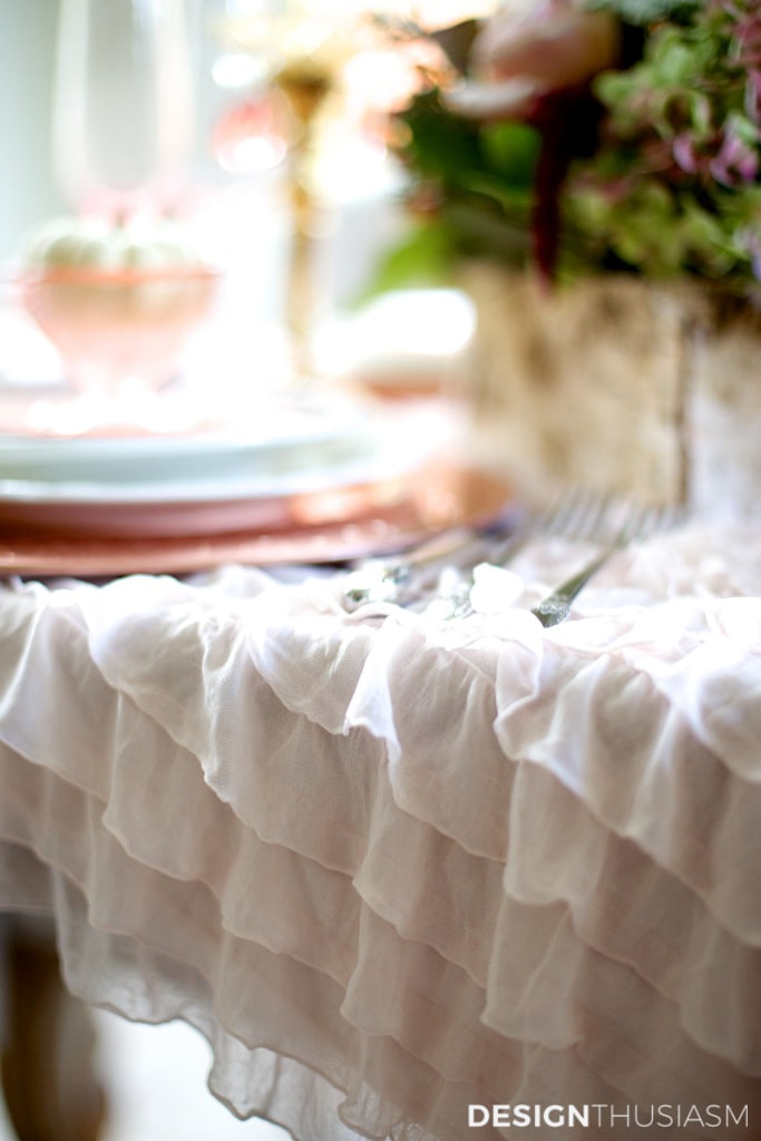 Thanksgiving decor with ruffled tablecloth