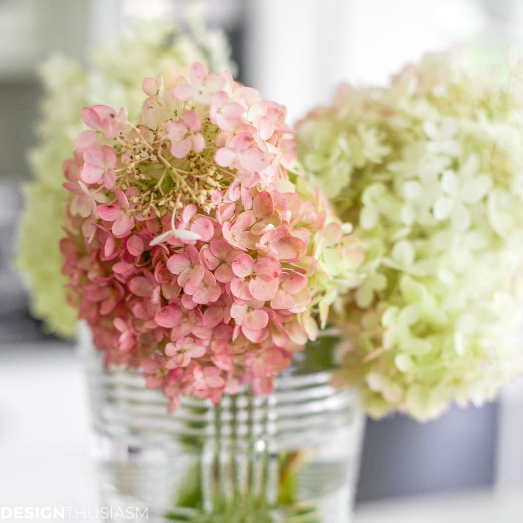 Thanksgiving decor with hydrangeas in a vase