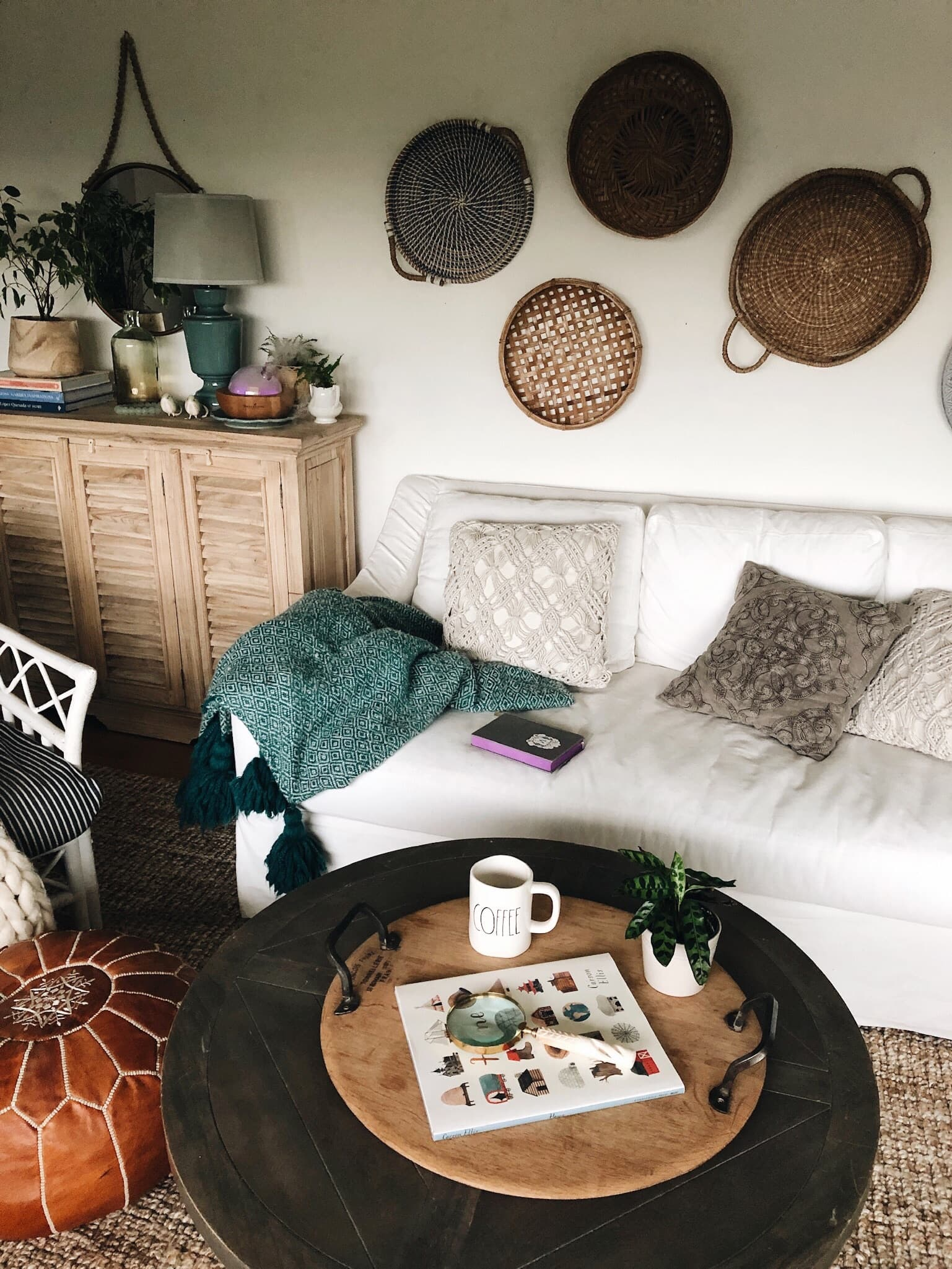 The best way to start your day - Cozy-living-room-decor-Baskets-on-wall