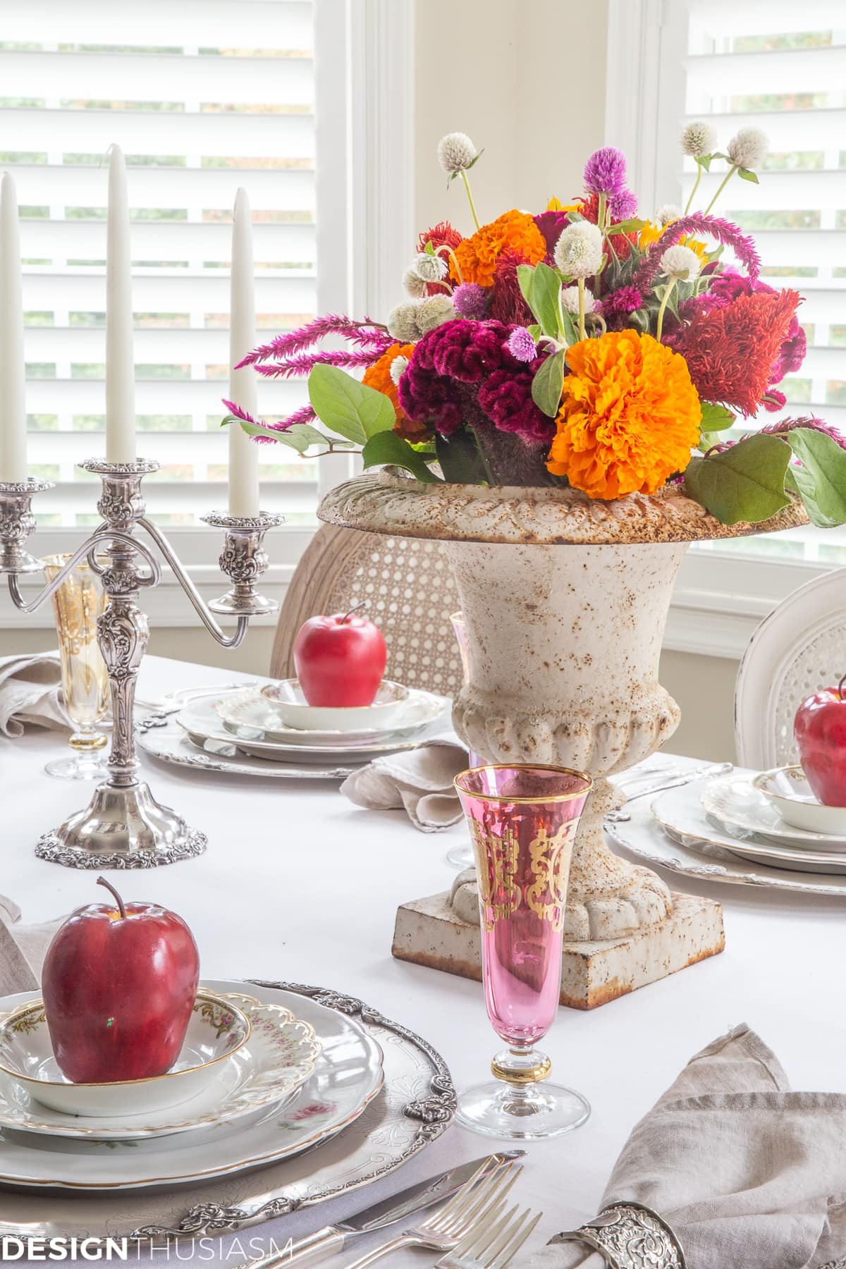 colorful apple decor fall table setting