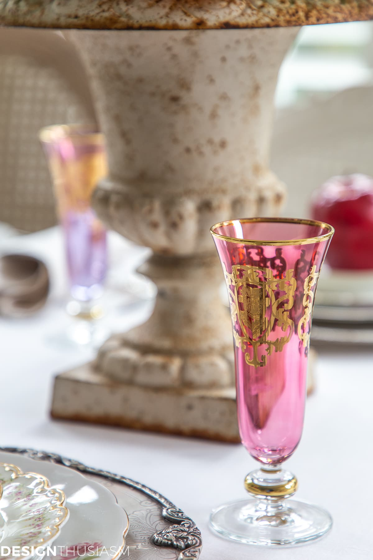gold painted champagne flutes in assorted colors