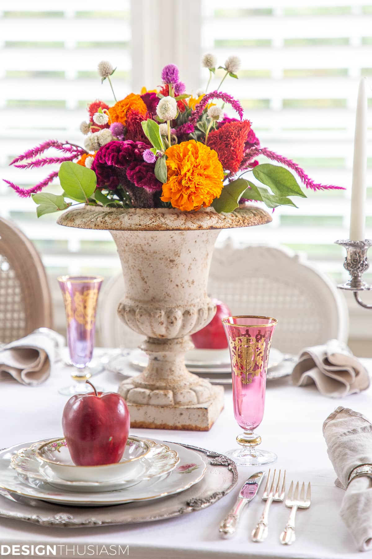 apple decor fall table setting with colorful floral